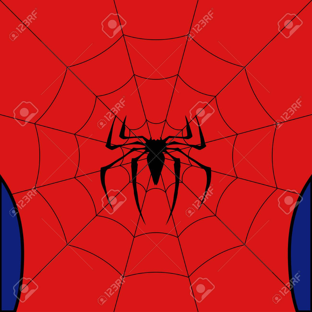 Vector black web with spider on red background. - 82041020