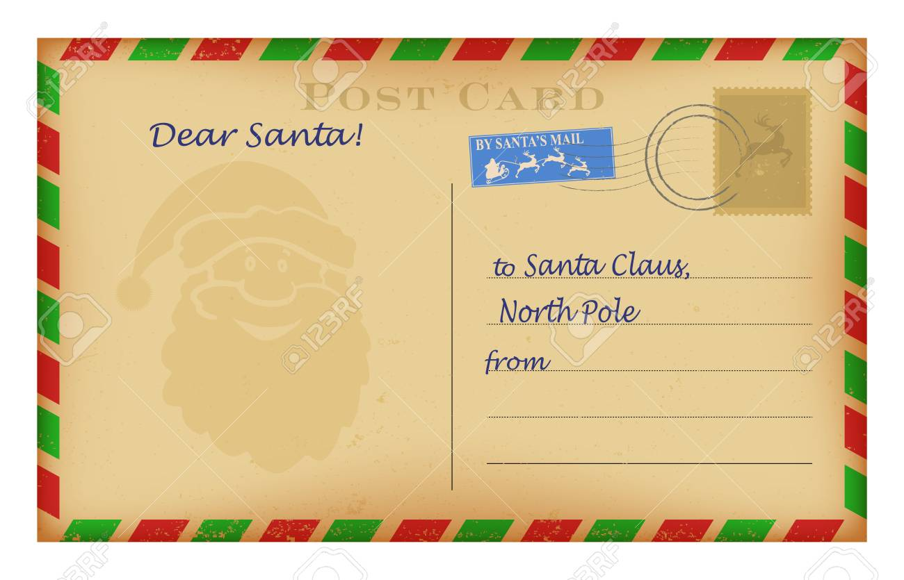 vector vintage christmas letter to santa template wish list stock