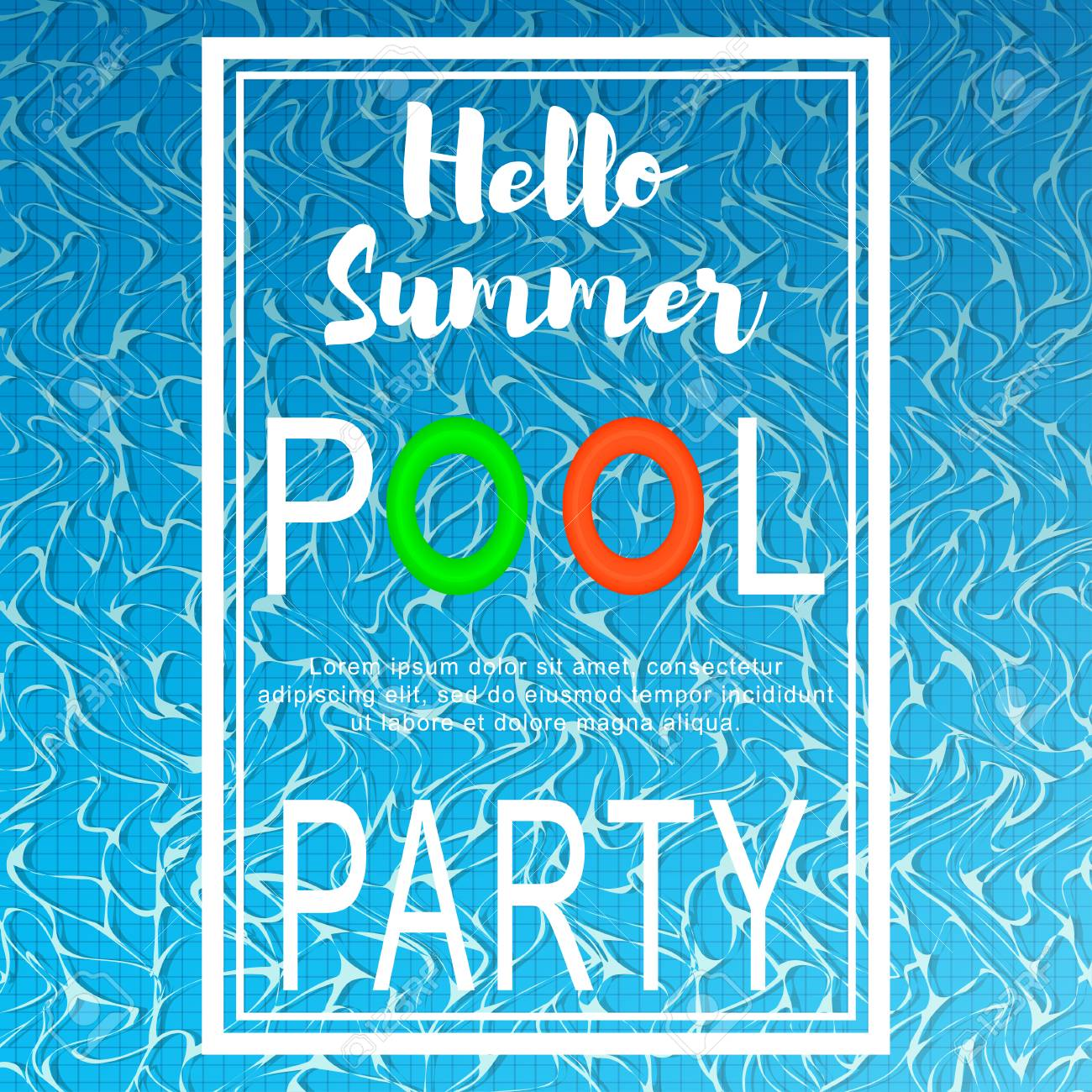 pool party poster template with hello summer text lettering