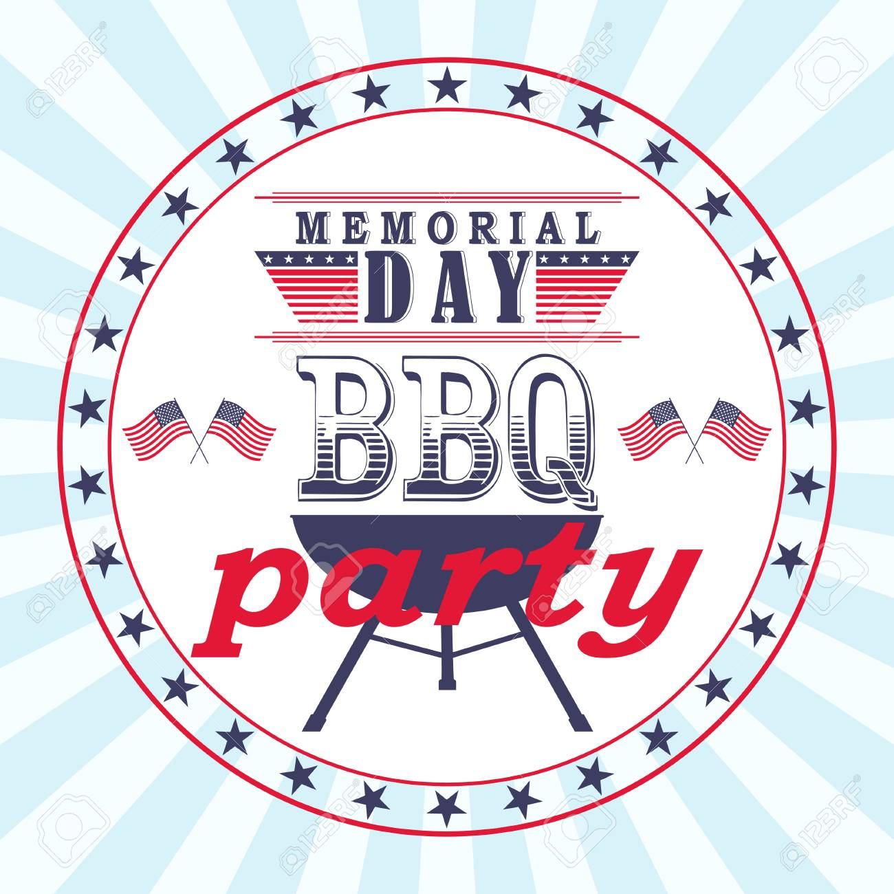 Vector Memorial Day Barbecue Party Flyer, Card, Invitation ...