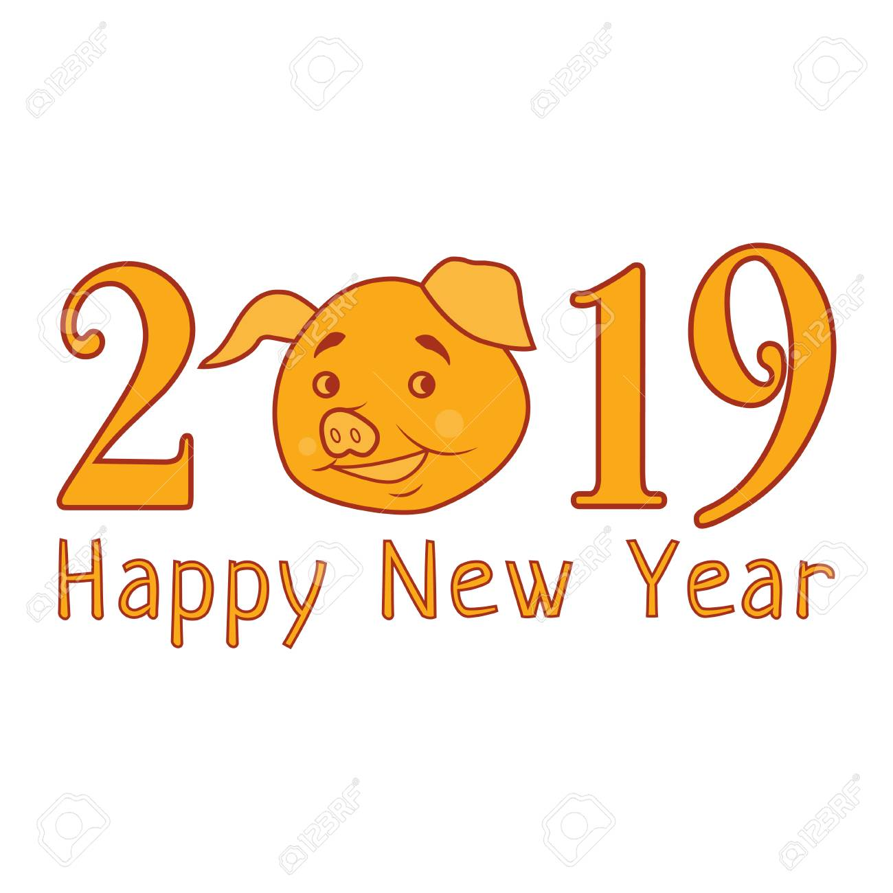 Vector 2019 Happy New Year Text With Funny Pig. Chinese Symbol ...