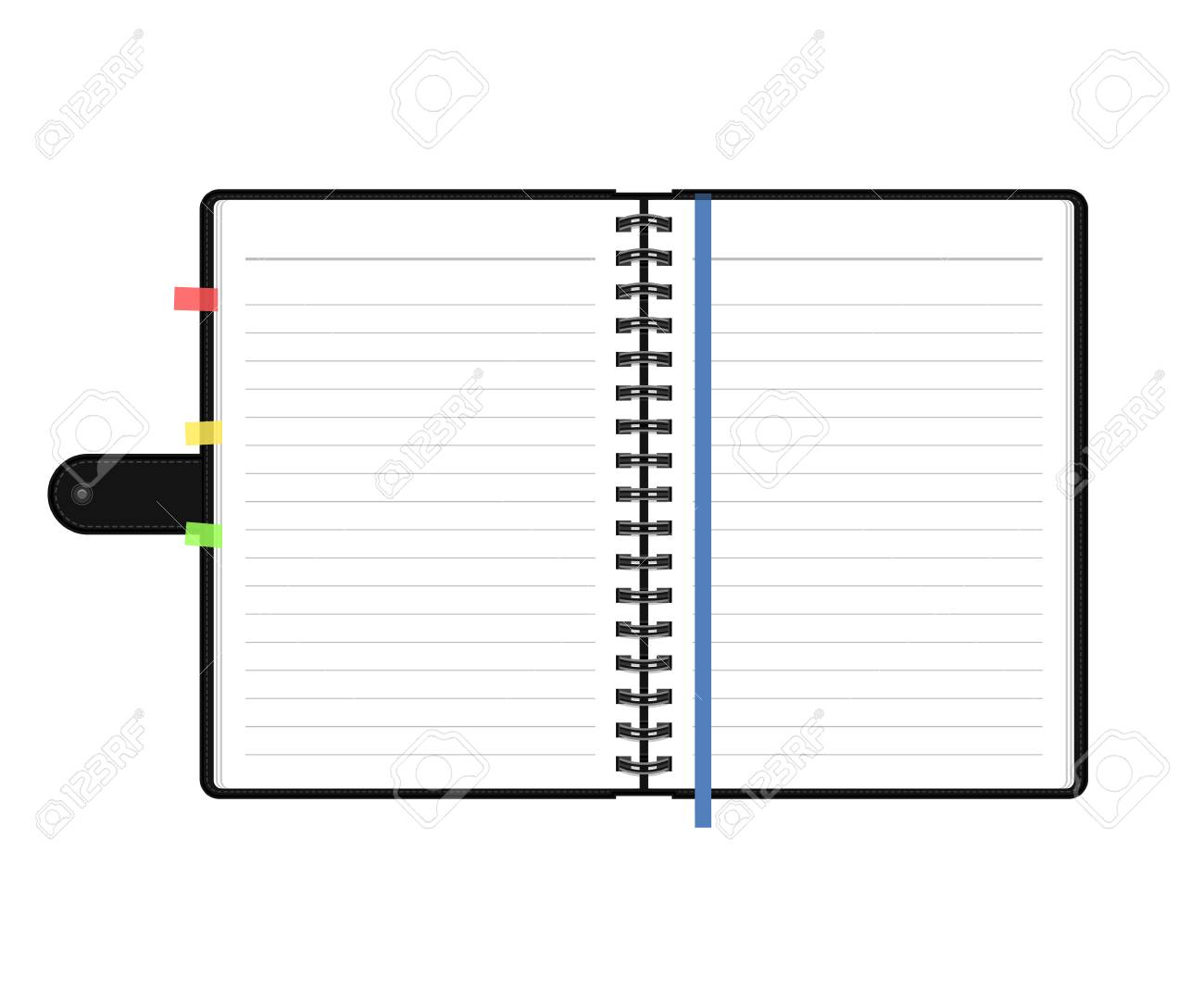 open diary or personal organizer with empty pages isolated on