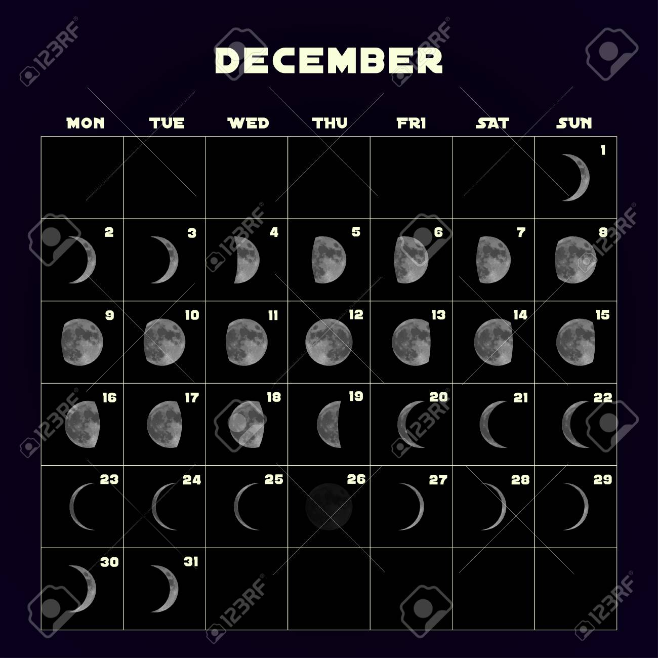 Moon Cycle Calendar December 2019 Moon Phases Calendar For 2019 With Realistic Moon. December