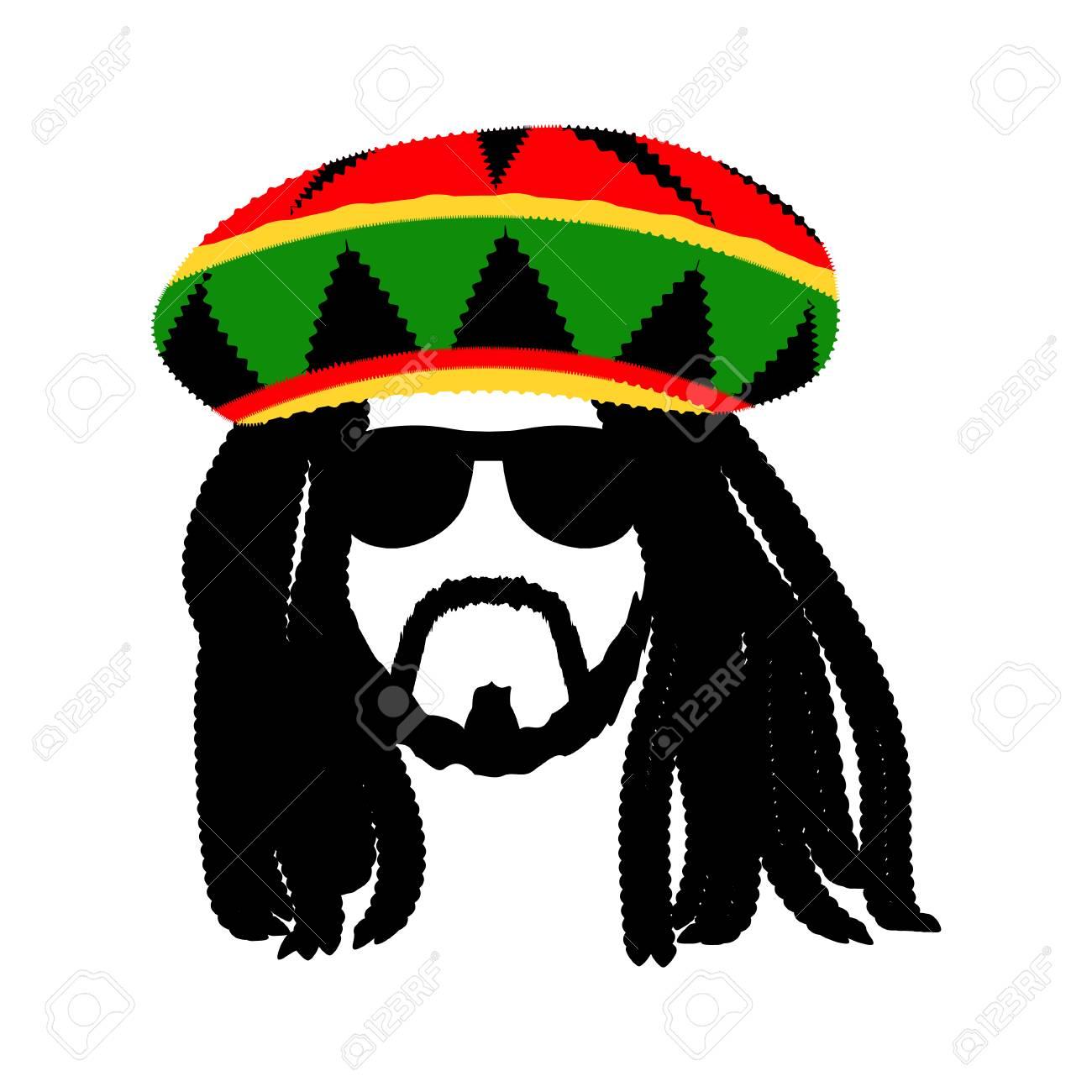 Jamaican rasta hat with dreadlocks and beard. Reggae style avatar. Isolated  on white background 74cc292a9