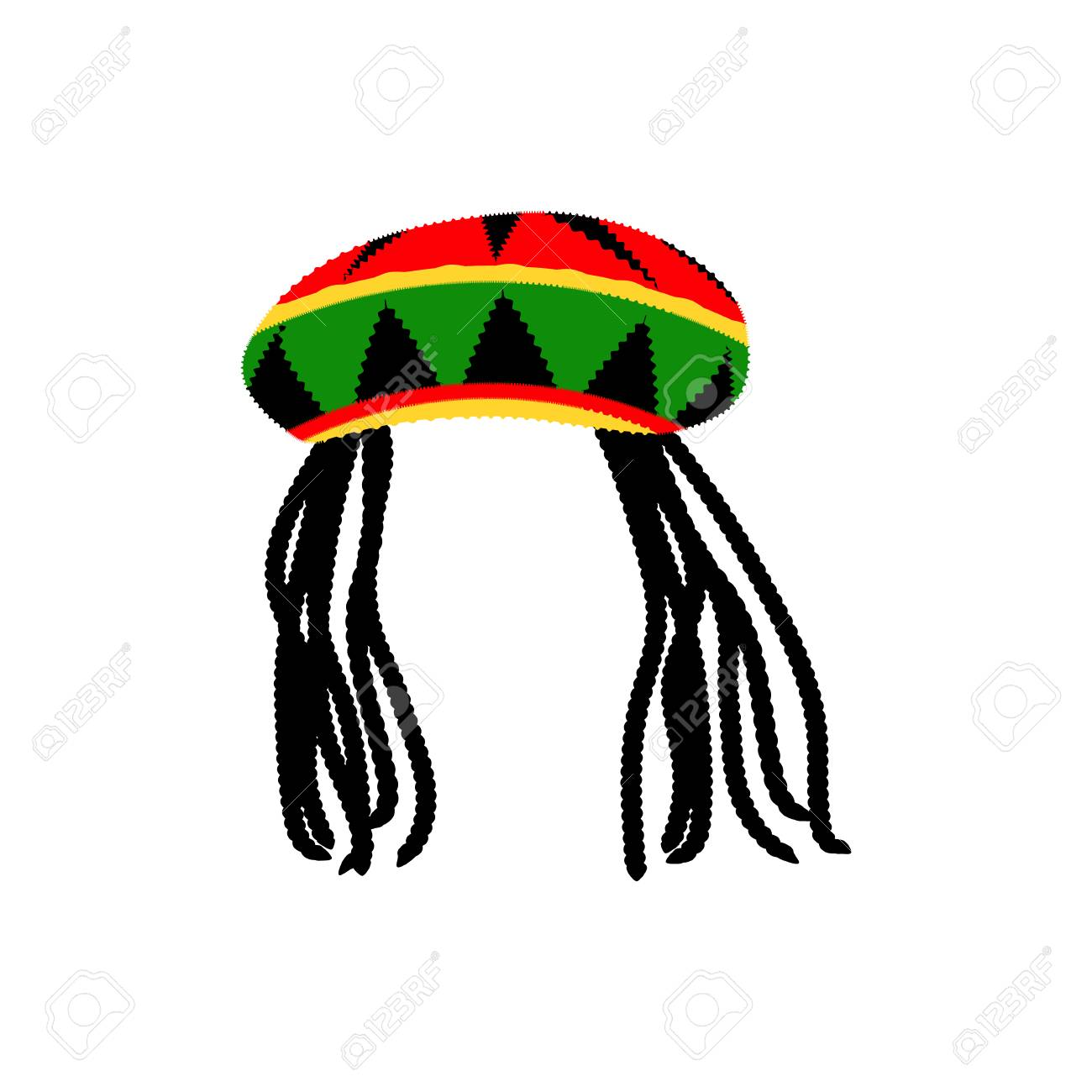 Jamaican rasta hat with dreadlocks. Reggae style avatar. Isolated on white  background. Vector c9c121a89