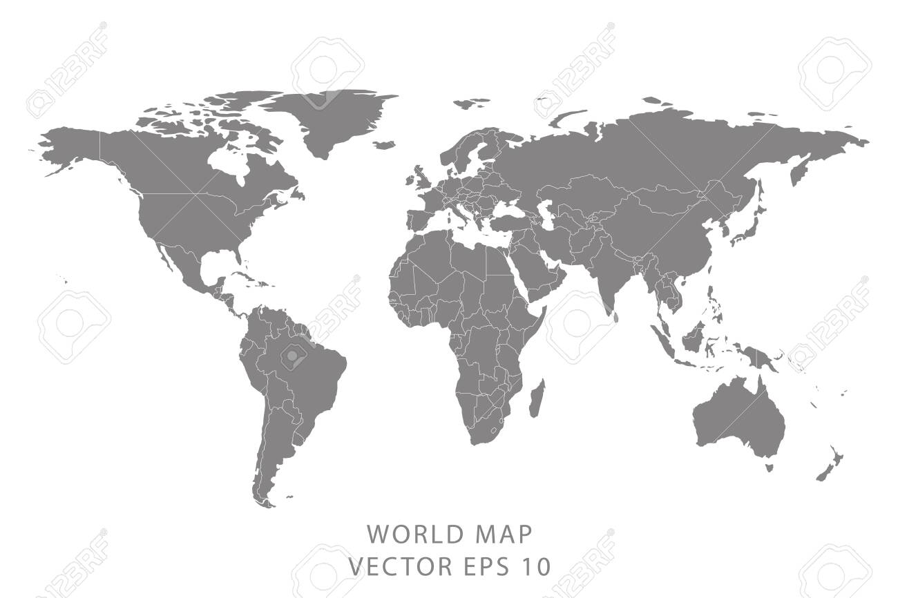 World Map With Borders Detailed World Map With Borders Of States. Isolated World Map