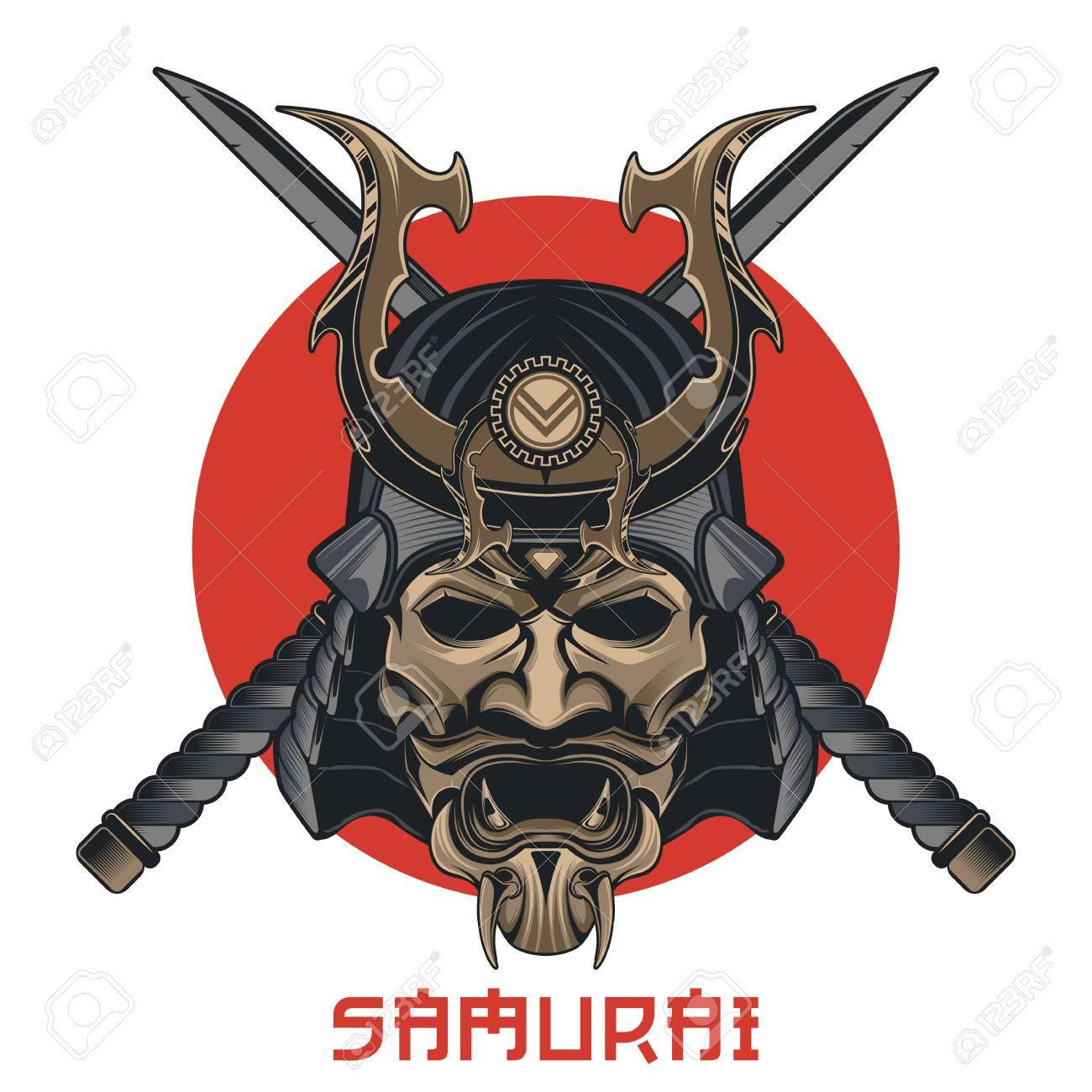 Masque De Samourai Vectoriel Masque Martial Traditionnel Japonais