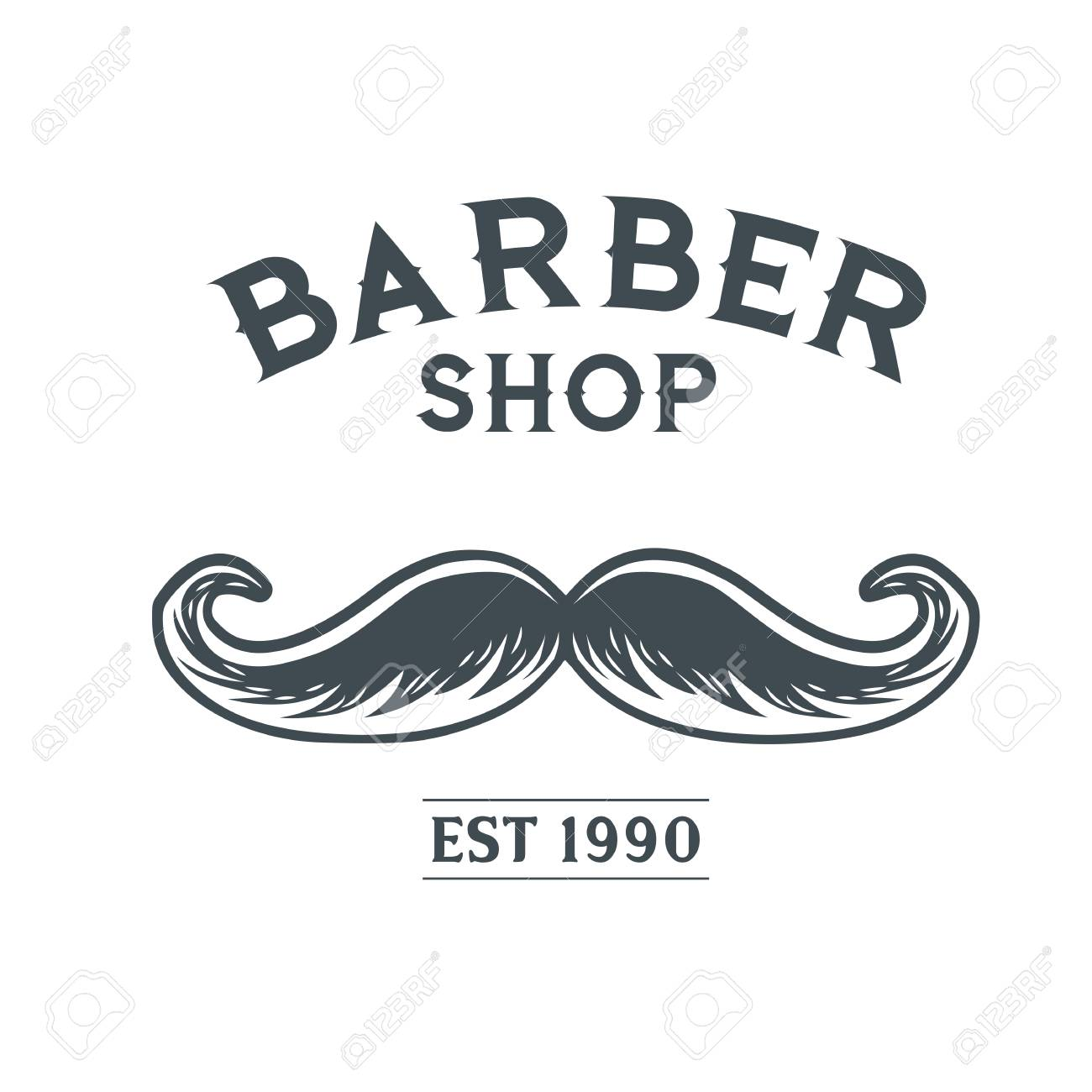 barber shop logo with mustache design vector template royalty free
