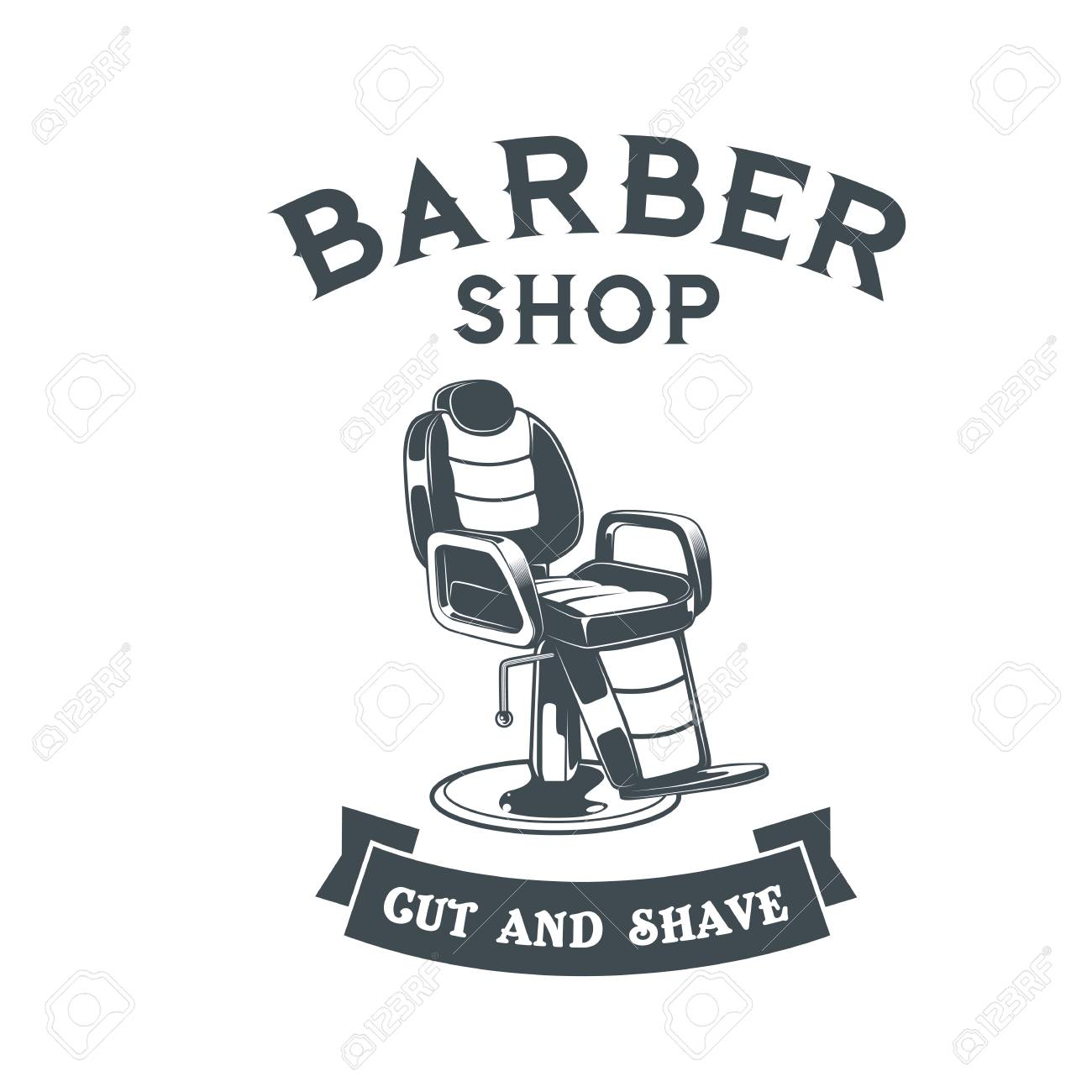 Barber Shop Logo With Barbers Chair Design Vector Template Stock