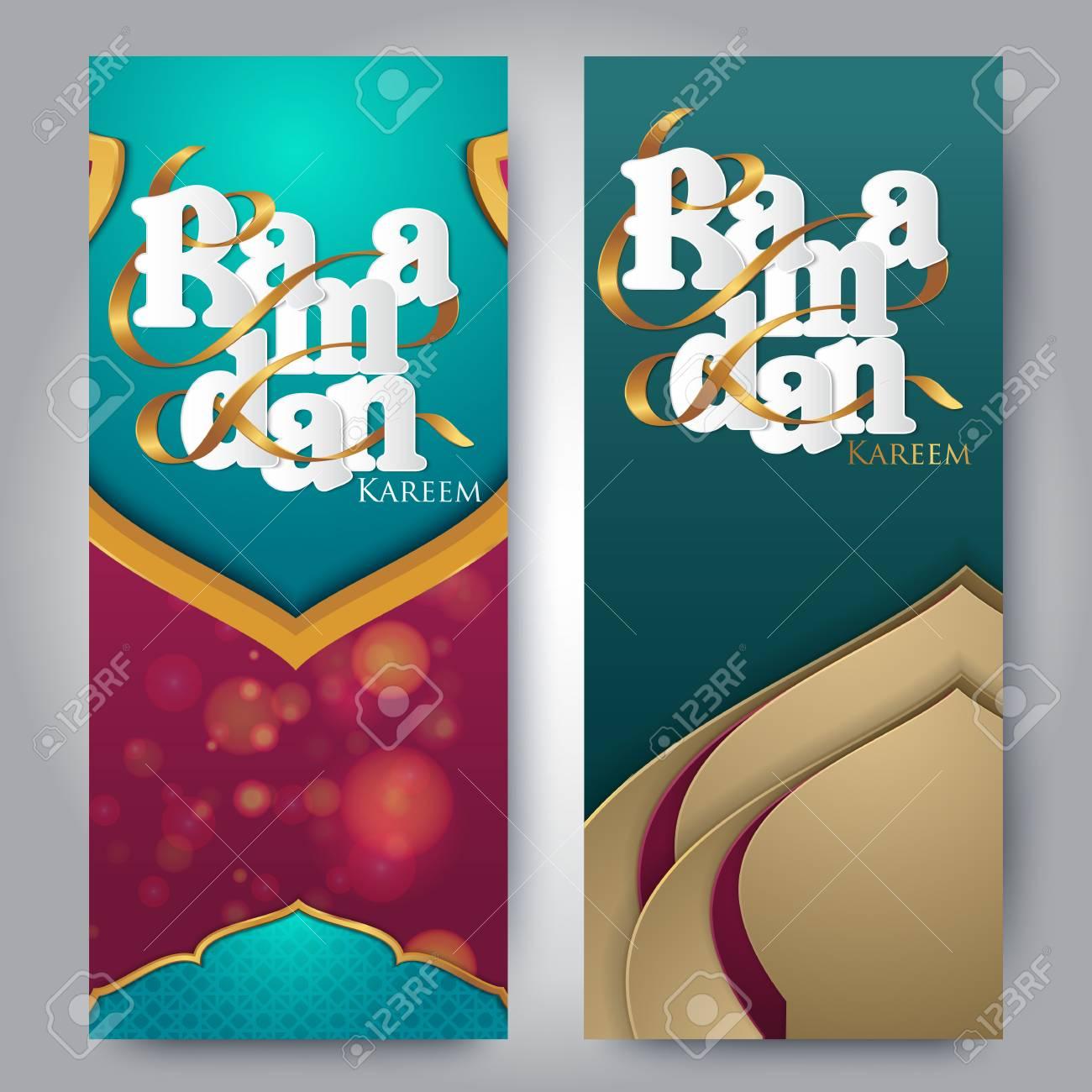 Islamic greeting on roll up banner Ramadan kareem vertical template