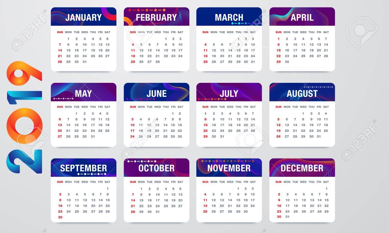 Calendar Week.Simple 2019 Year Vector Calendar 2019 Calendar Vertical Week