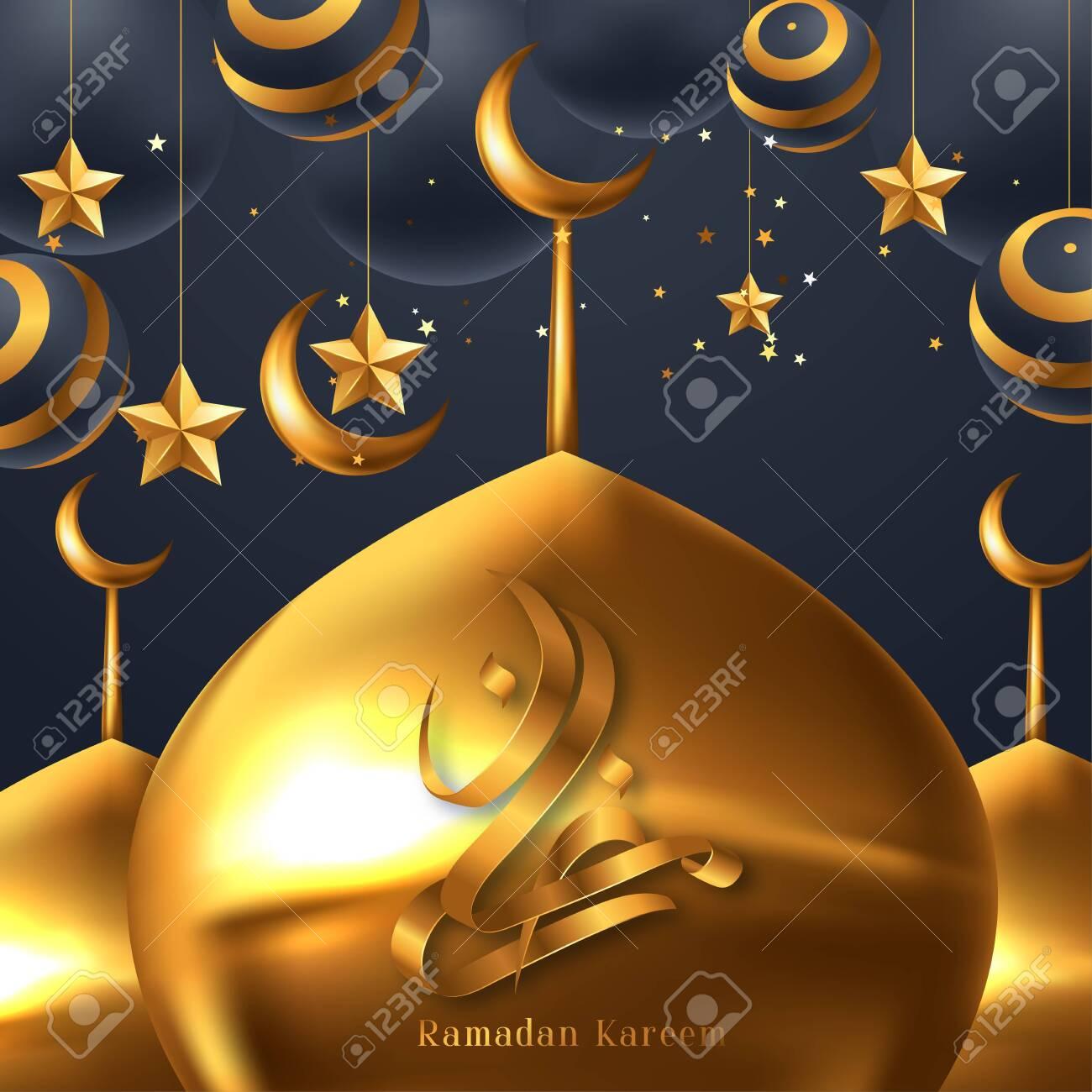 Ramadan kareem poster, golden Arabic calligraphy design. Vector illustrator - 143836980