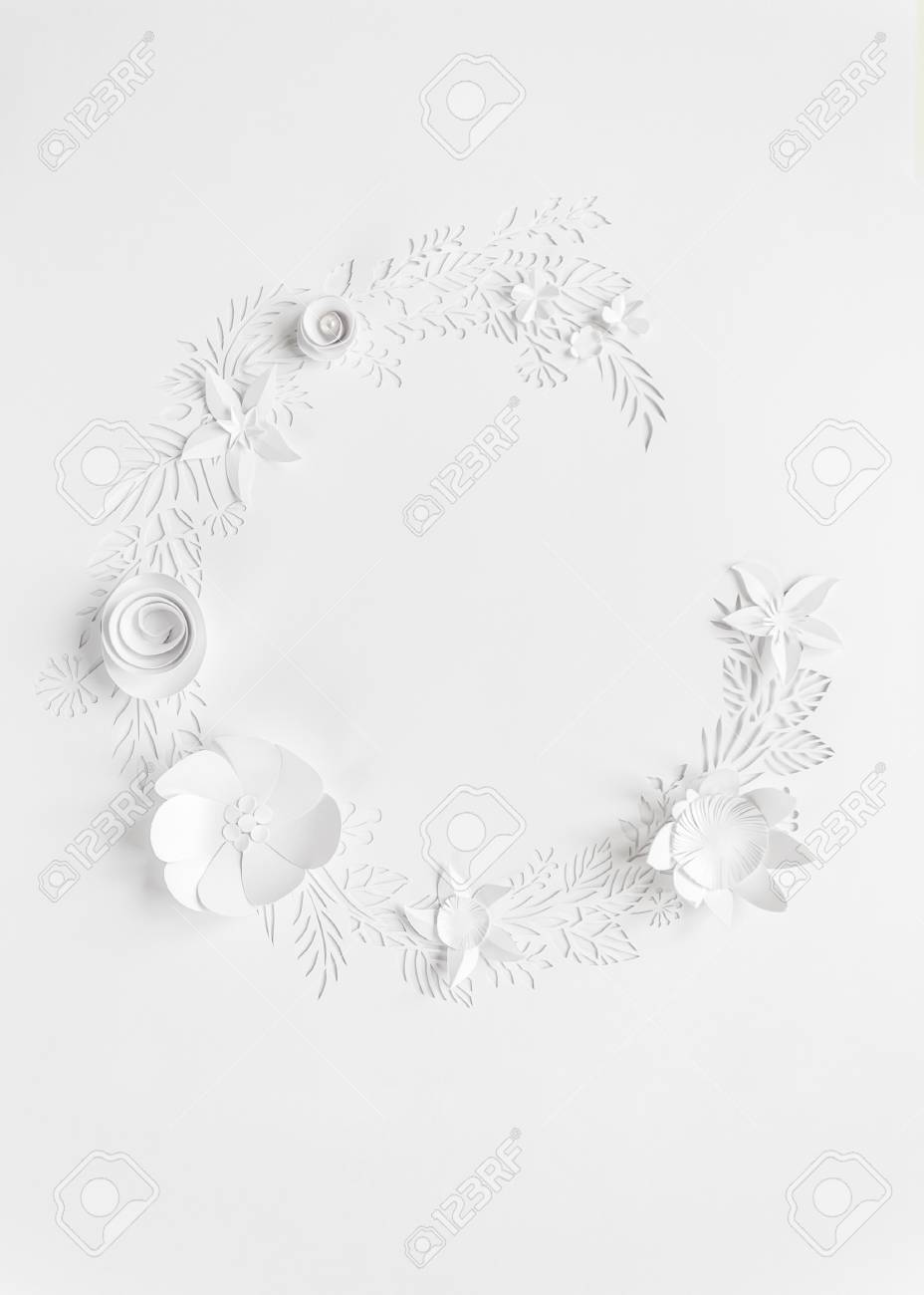Round Frame With White Paper Flowers On White Background Cut