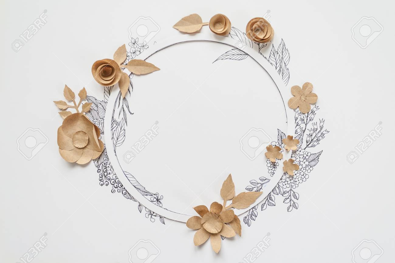 Floral Round Frame With Drawing Leaves And Craft Paper Flowers
