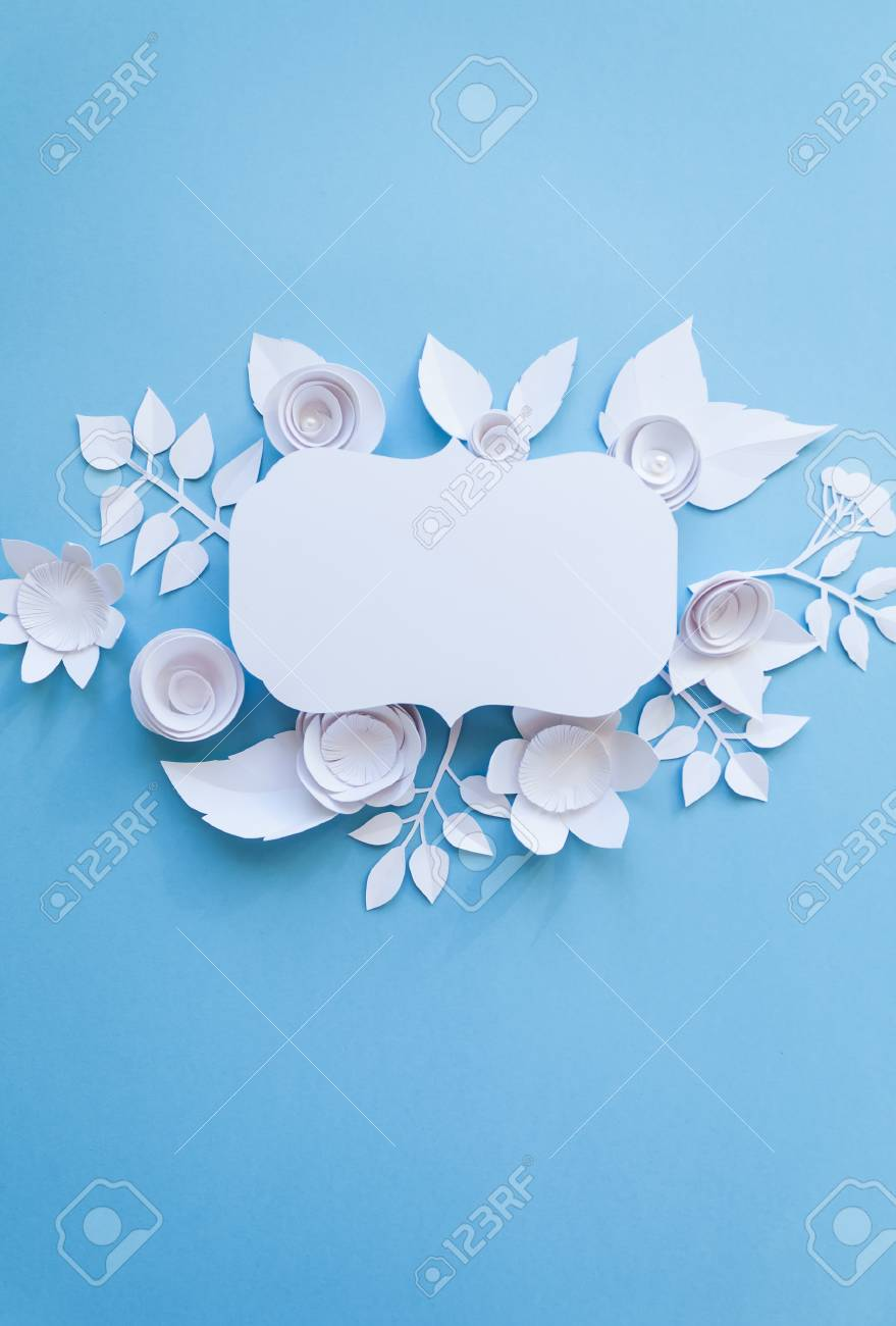 Festive Flower Composition With White Paper Flowers With Greeting