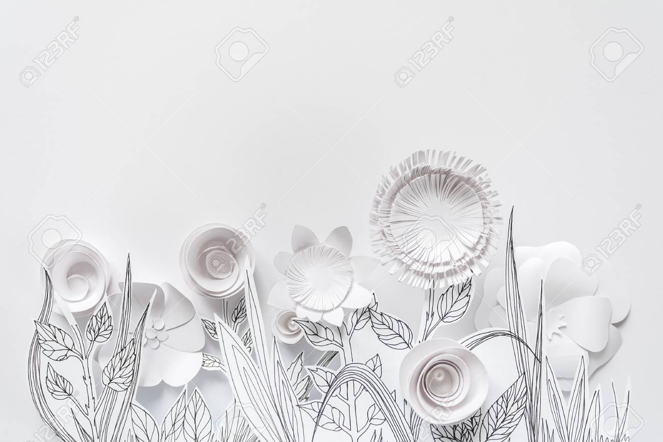 3d White Paper Flowers With Painted Leaves And Stems On The White