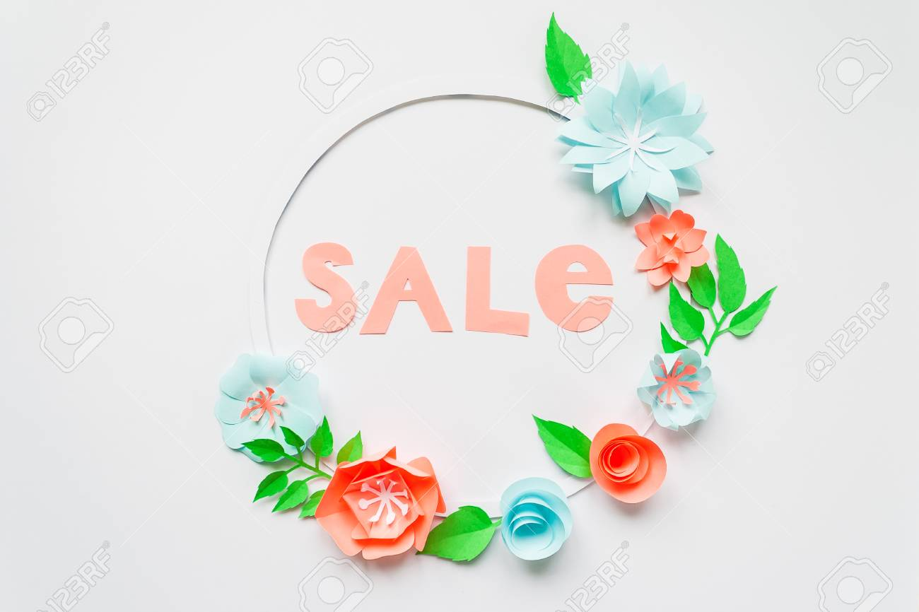 Sale round frame with color paper flowers on the white background sale round frame with color paper flowers on the white background flat lay nature mightylinksfo