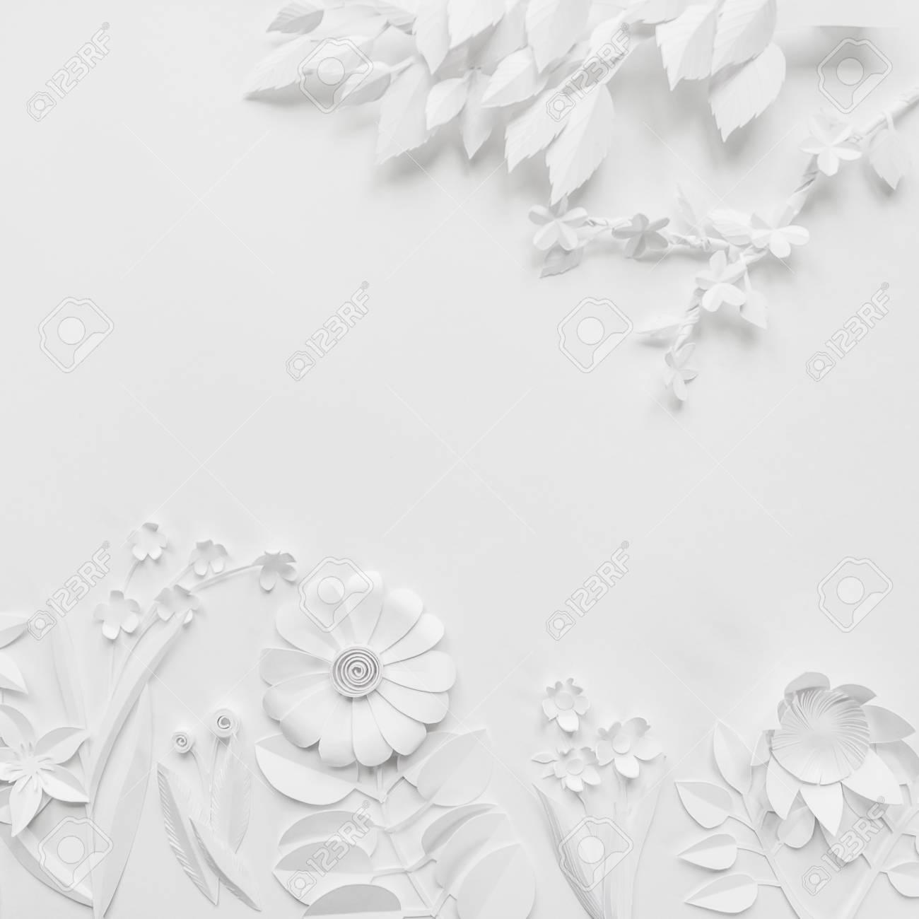White Paper Flowers Wallpaper On White Background Spring Summer