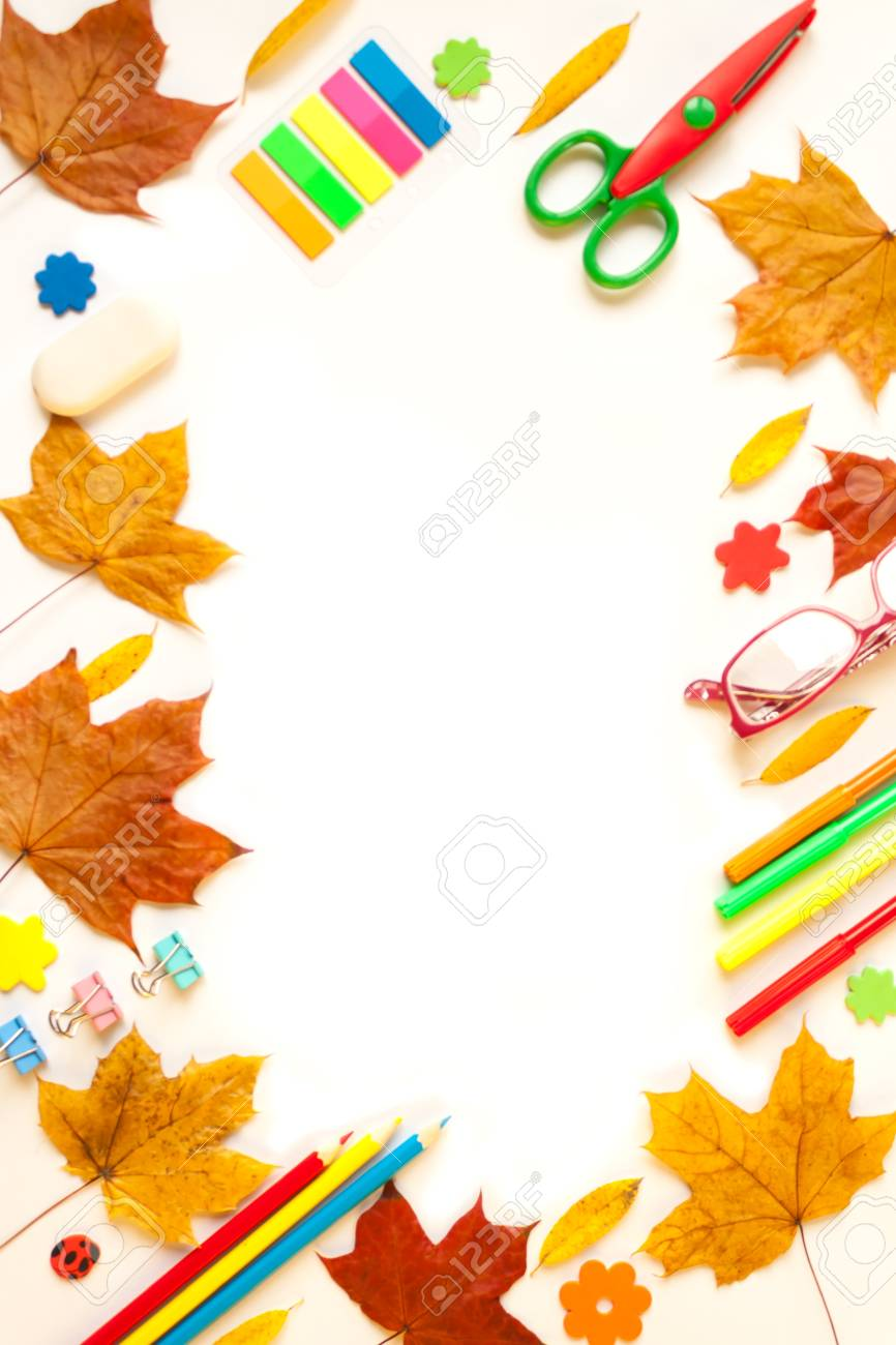 frame stationery and autumn leaves on the white background