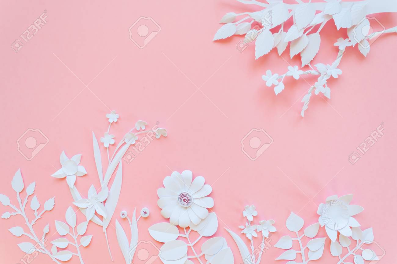 White Paper Flowers Wallpaper On Pink Background Spring Summer