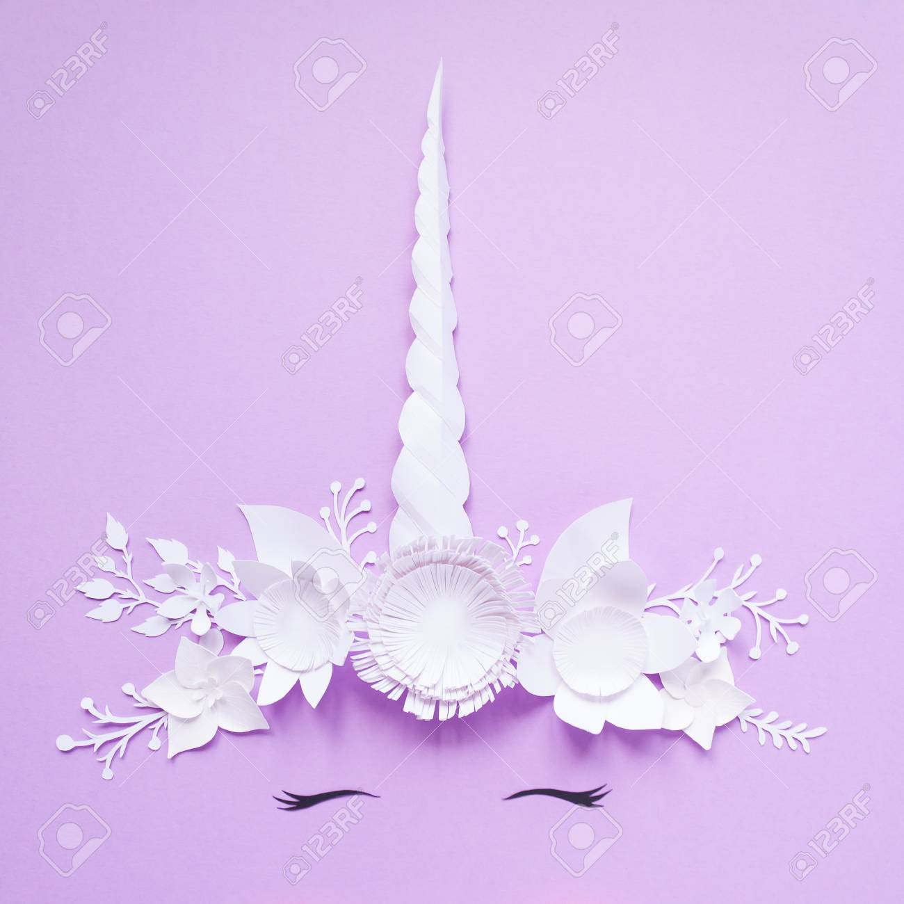 Cute Unicorn Made Of White Paper Flowers On Violet Background Cut