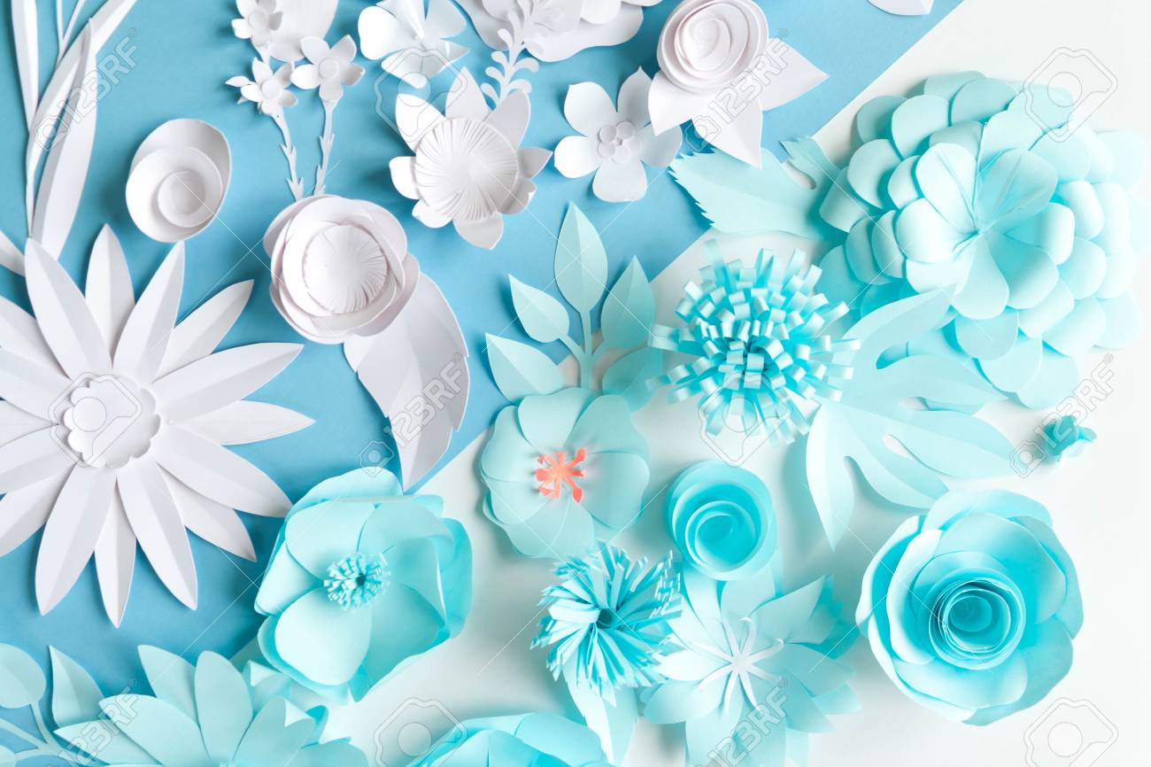 Paper Flowers Background Pattern Lovely Style Flat Lay Stock Photo