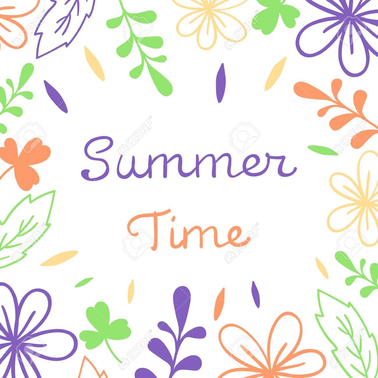 Summer Time lettering. Floral vector illustration. For poster, banner, print - 97072454