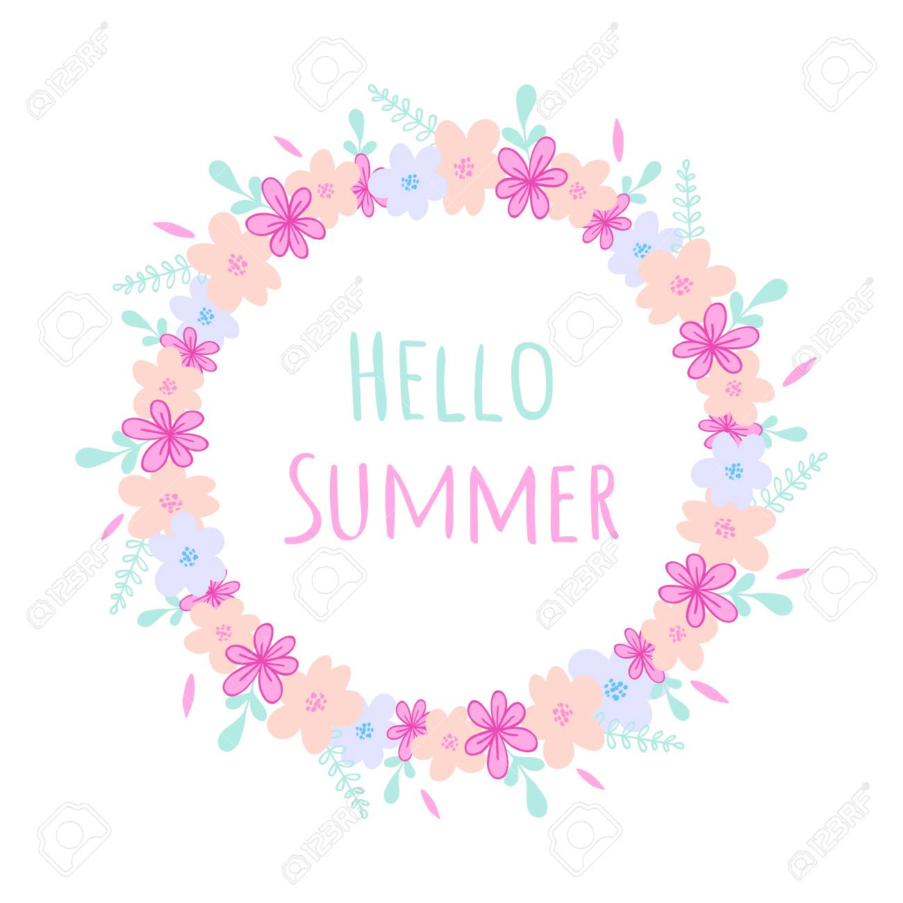 Hello Summer round frame with wild flowers, herbs and leaves isolated on white background. For design, greeting cards, wedding, posters - 97072458