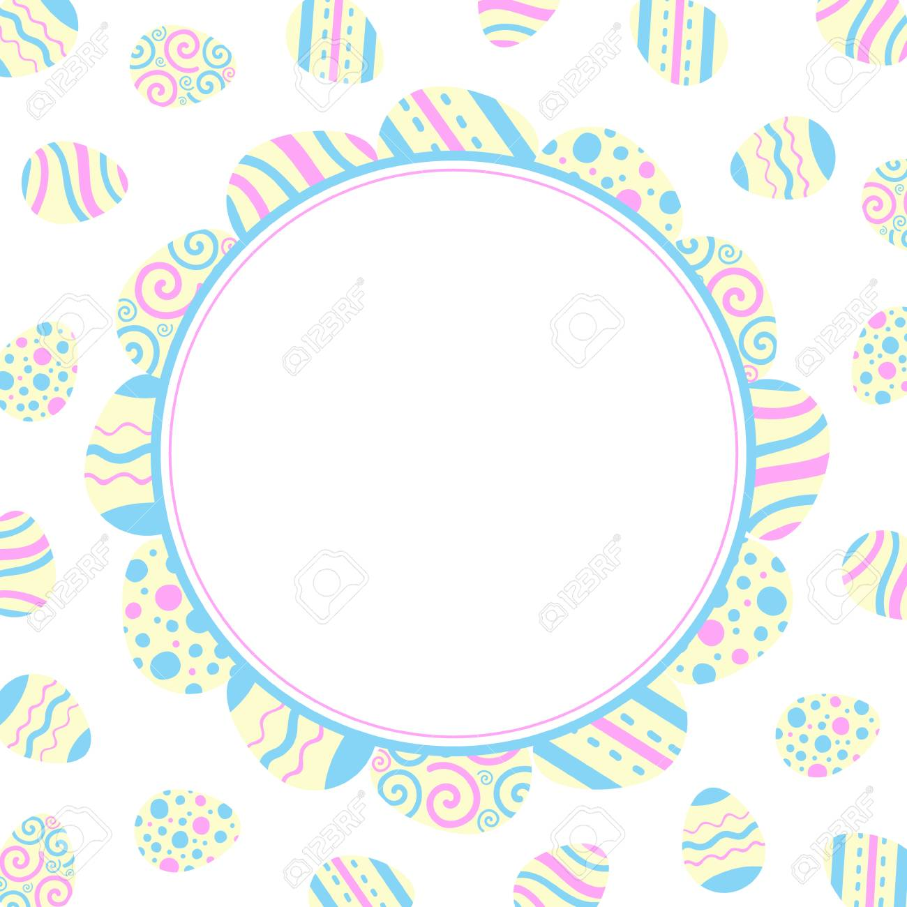 Illustration for scrapbooking. Easter holiday Round frame of colored eggs. Flat design. - 97073709