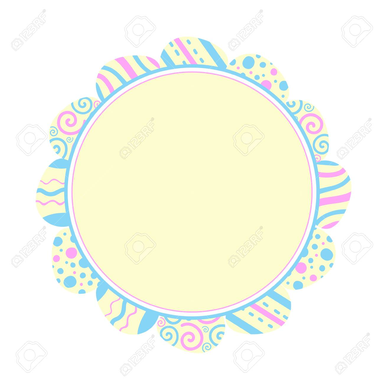 Illustration round frame of colored eggs. Easter holiday. Flat design - 97490207