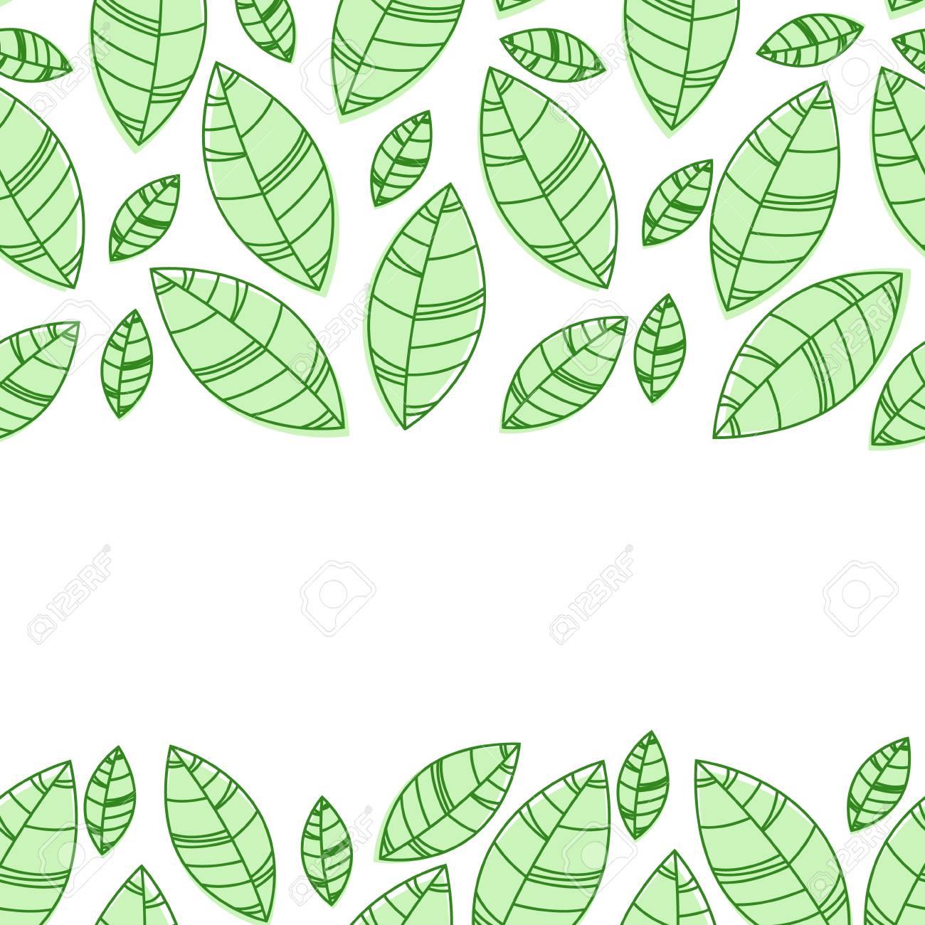Green leaves frame. Ornament for print, card wallpaper - 97187894
