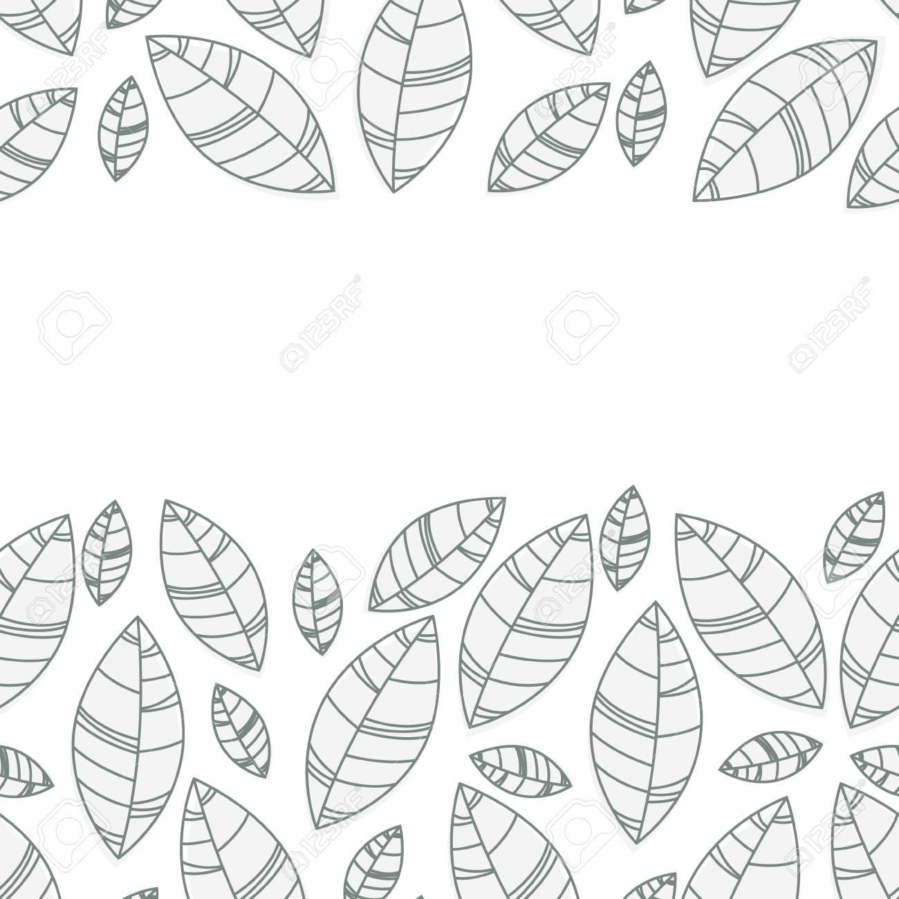 Horizontal leaves frame. Ornament for print, card, wallpaper, banner - 97507404