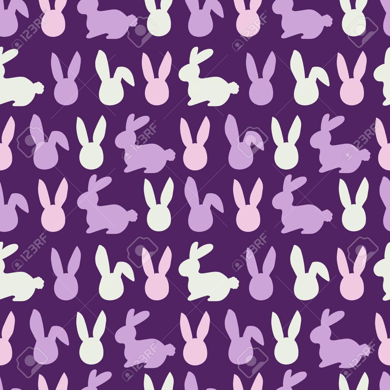 Violet pattern of easter bunny. Egg hunt illustration for flyer, design, scrapbooking, poster, banner, web element - 97890057