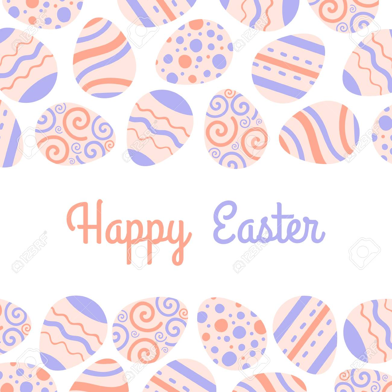 Pastel greeting vector card. Happy Easter freme with eggs and lettering. - 97417976