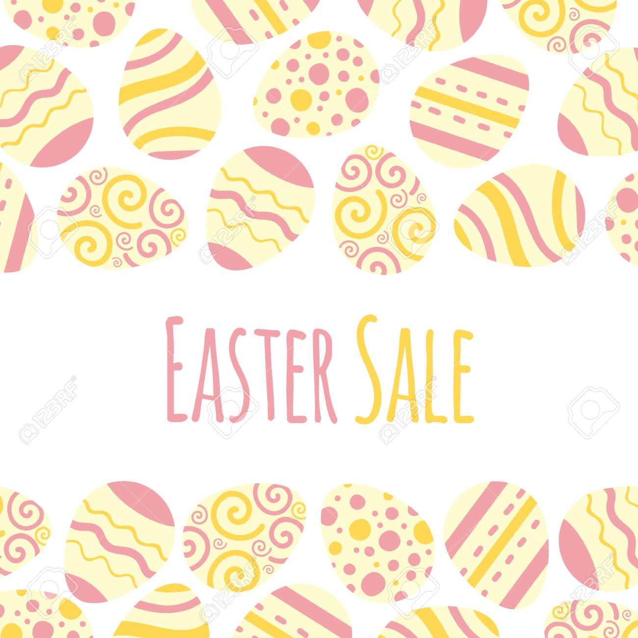 Easter sale vector frame. Background illustration with eggs and lettering. - 97418014