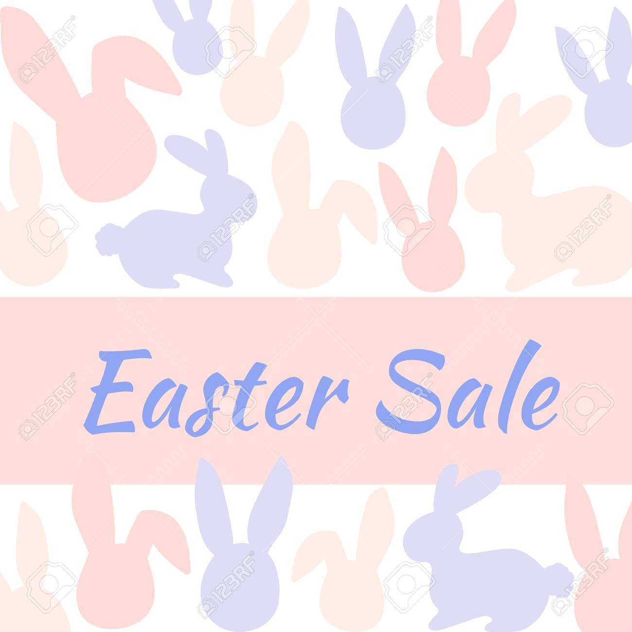 Special Easter sale banner with pink and blue rabbit. Vector illustration - 97825968