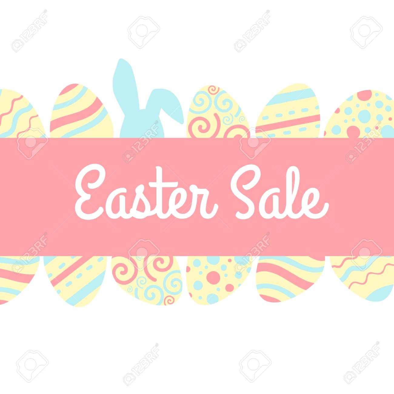 Easter sale banner with pink and blue rabbits and eggs. - 97521007