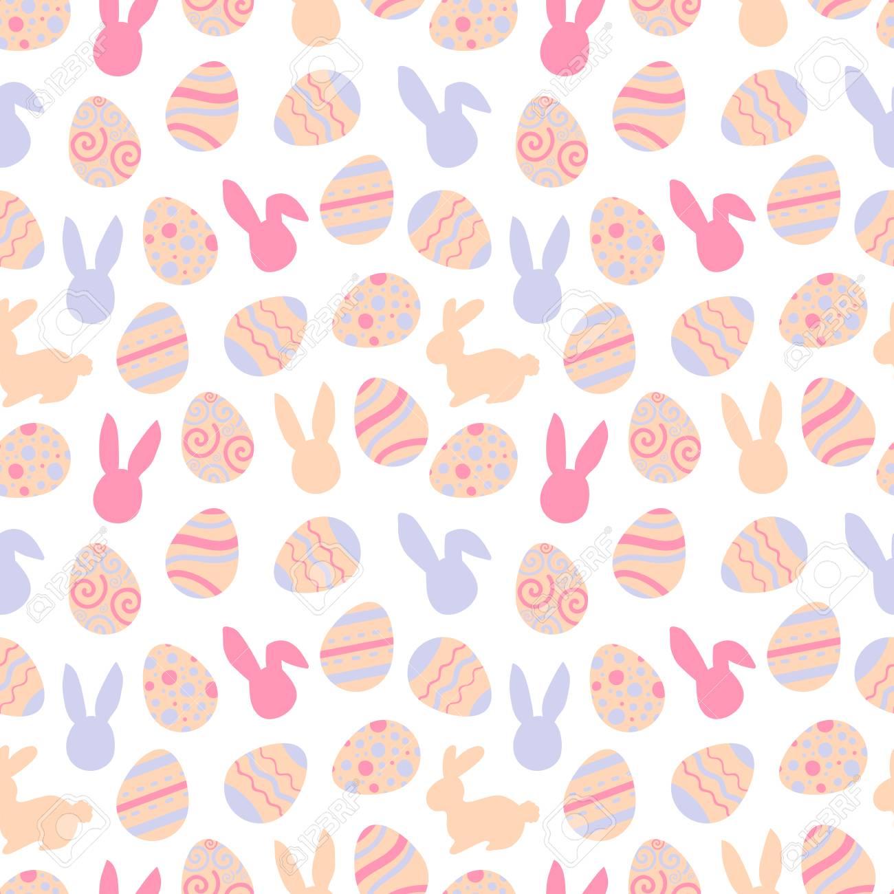 Pink pattern of easter bunny. Egg hunt illustration for flyer, design, scrapbooking, poster, banner, web element - 97906810