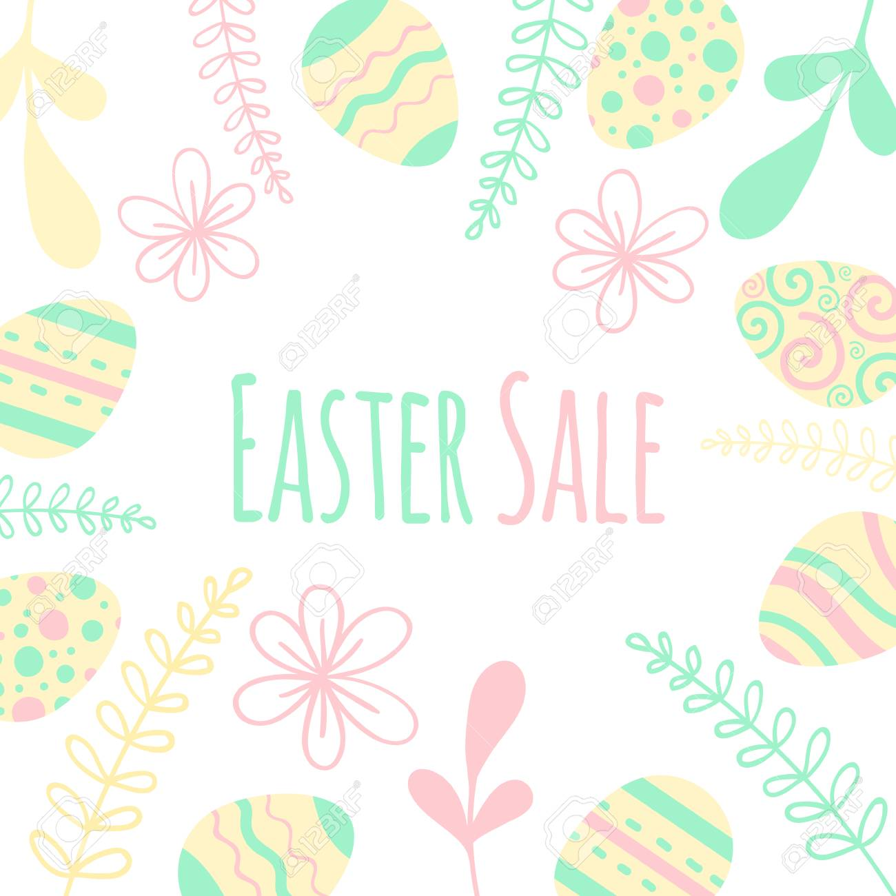 Easter sale banner with patterned eggs and flowers. - 97499117