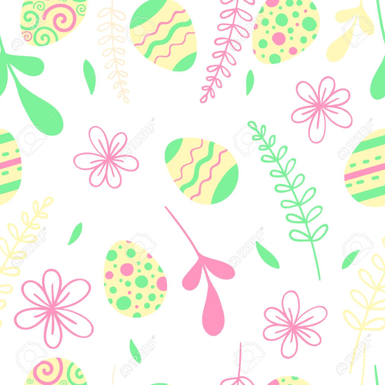 Egg hunt vector illustration. Easter seamless pattern with flowers. - 97943821