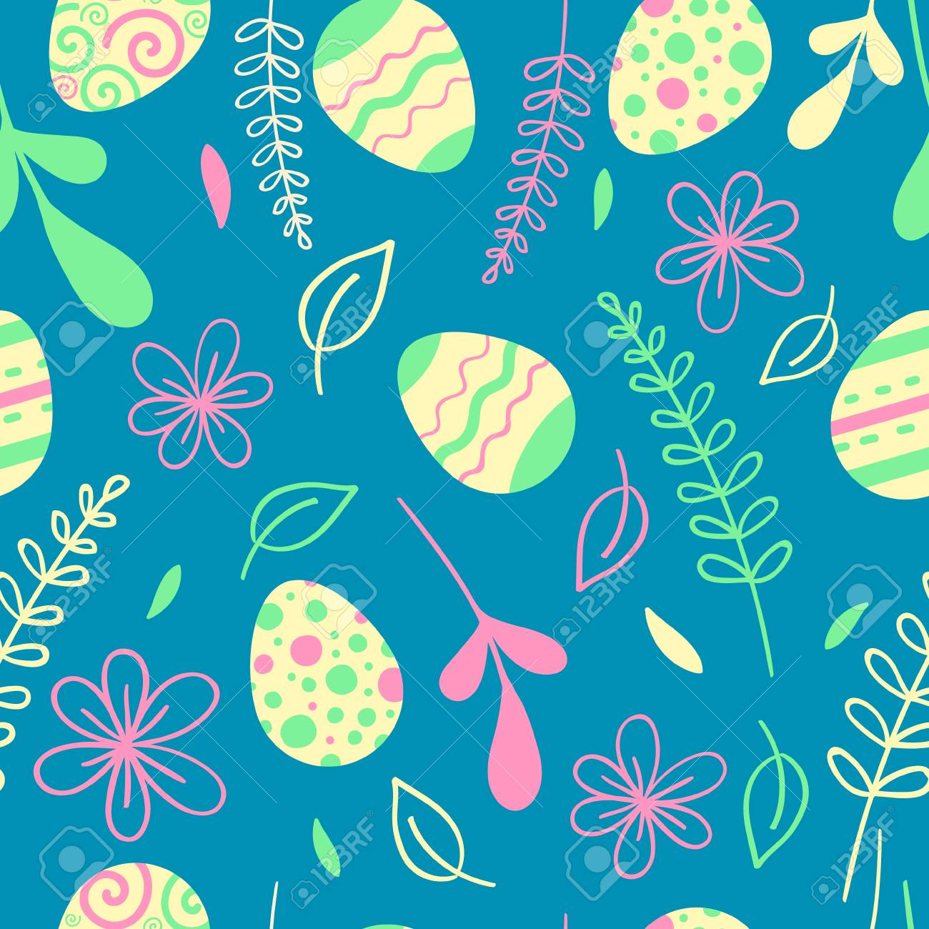 Easter seamless pattern with flowers. Egg hunt vector illustration - 97943781