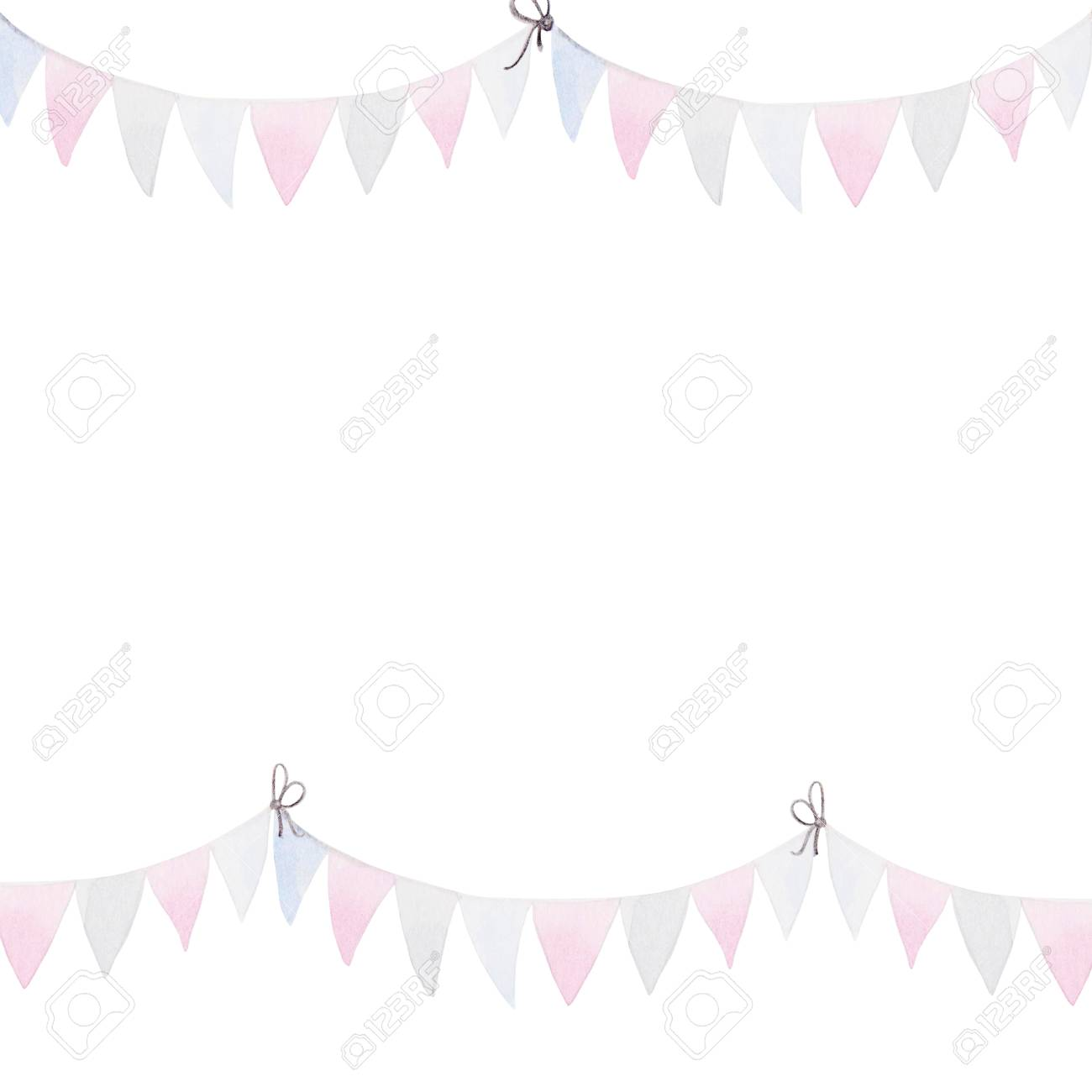 Frame for 4th of July. Watercolor Bunting Flags. Celebration of American Independence Day. - 98521092