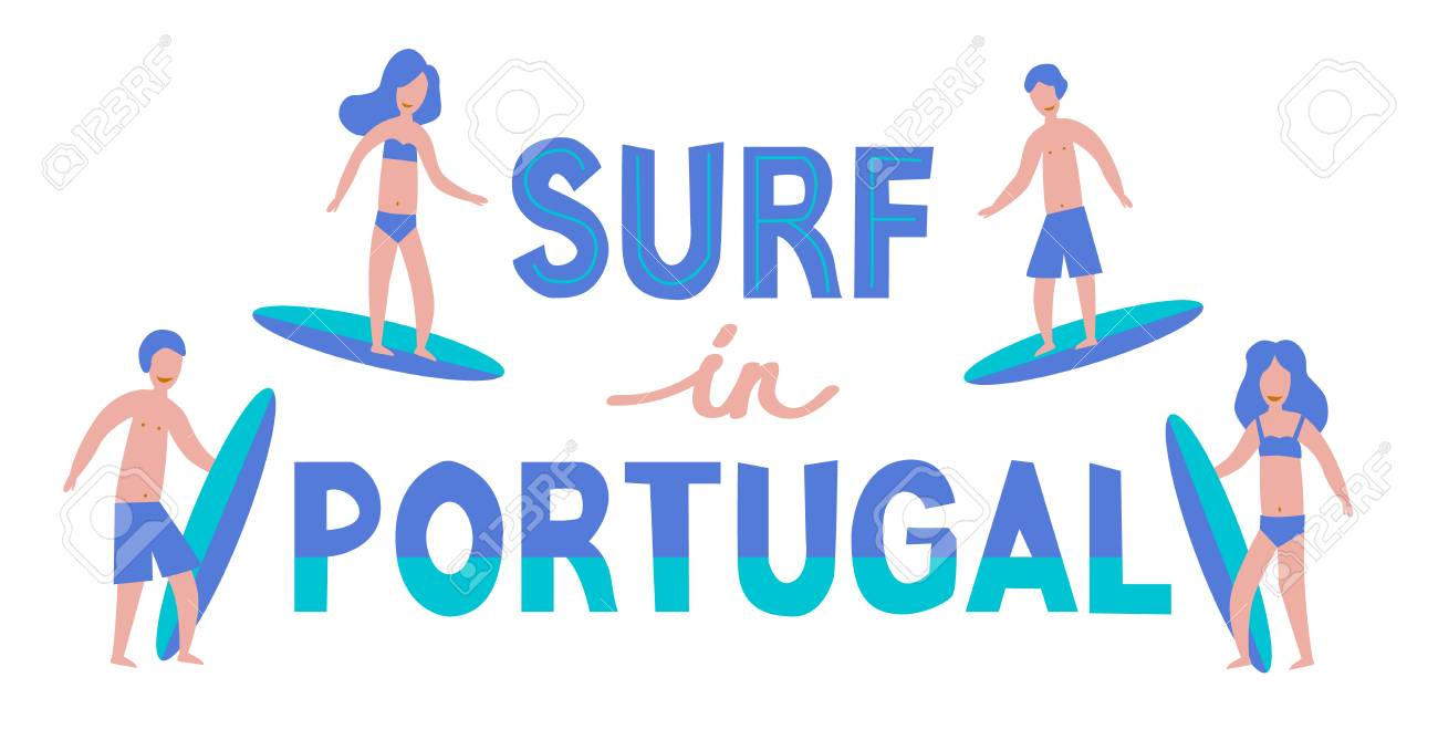 Vector lettering illustration. Banner of surfers with surfboards in Portugal - 112595115