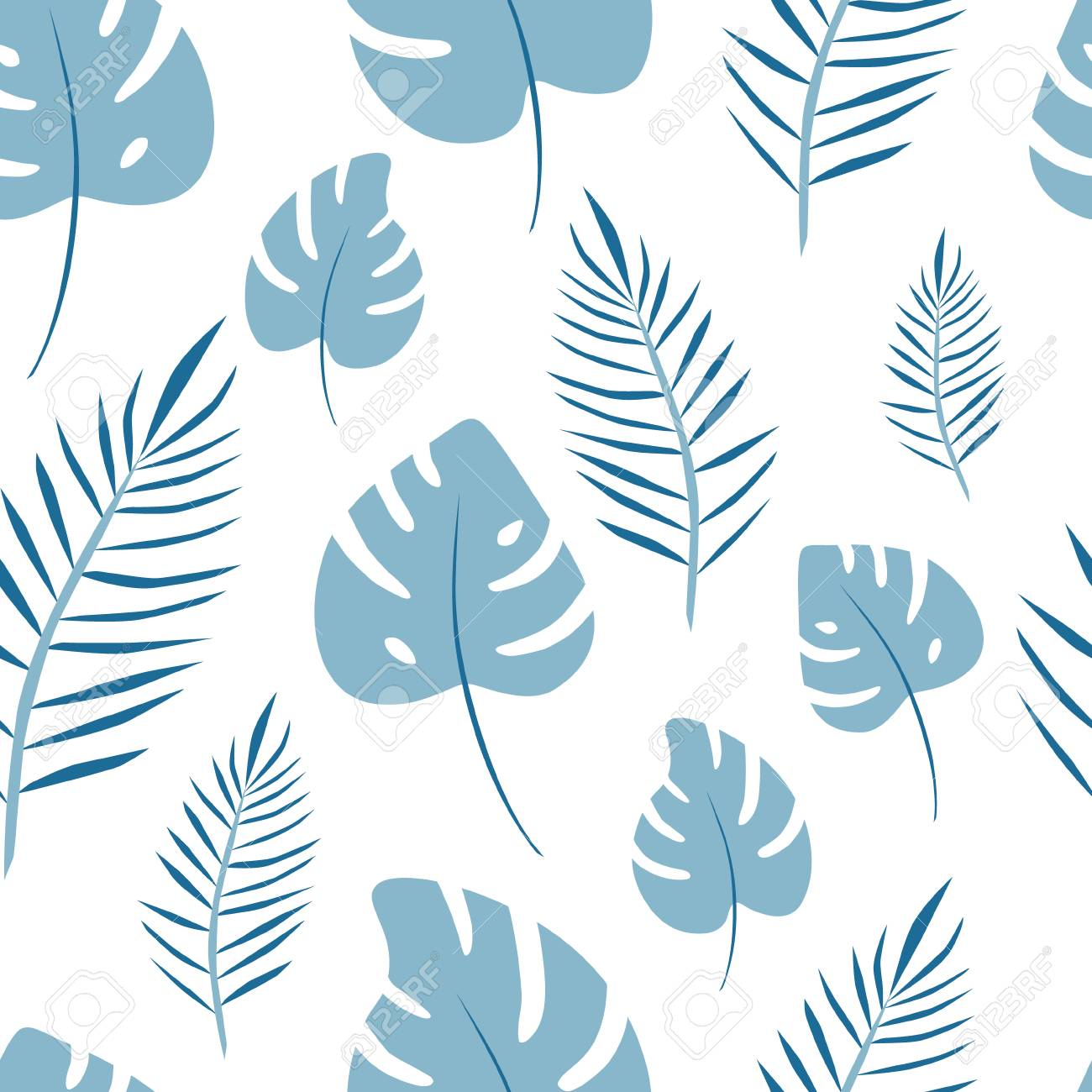 Seamless pattern of leaf palm vector. Jungle background for print - 112595116