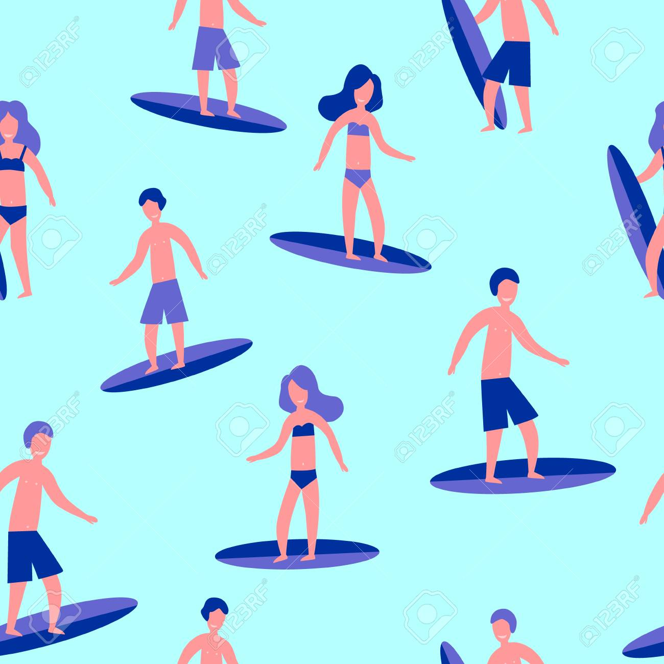 Vector illustration seamless flat pattern of Surfers for print. - 112595119