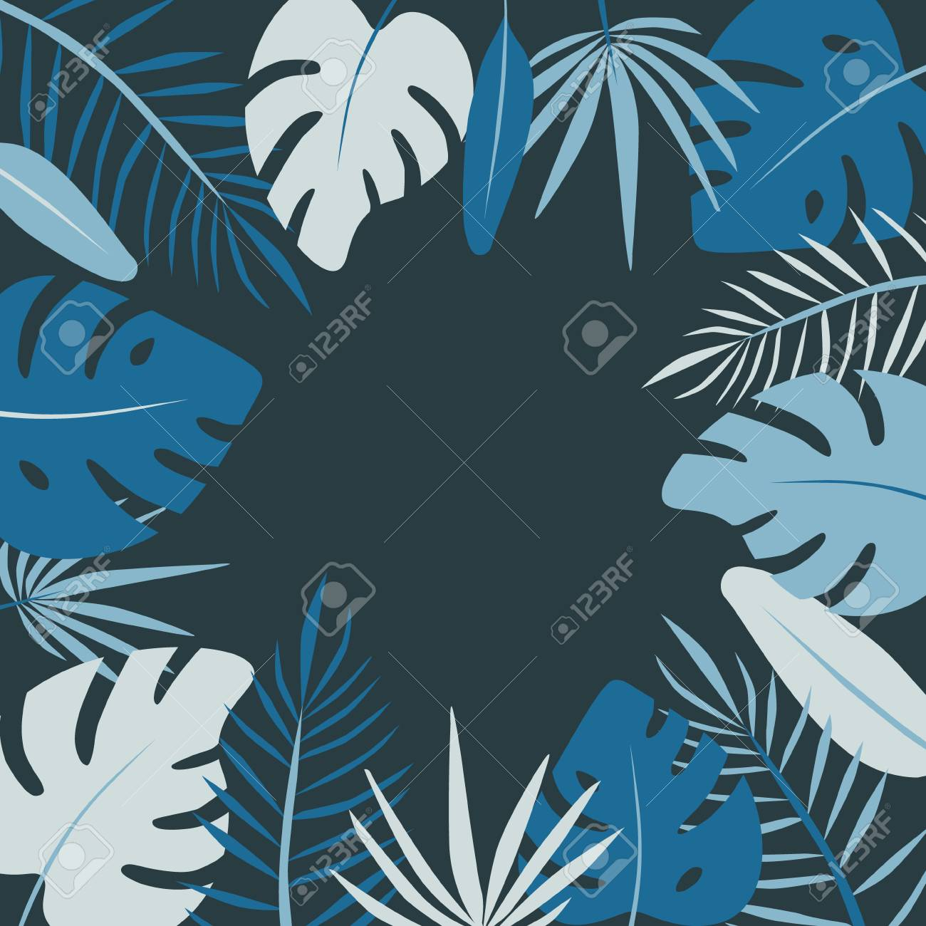 Floral round frame of leaf palm vector in flat style - 112595125