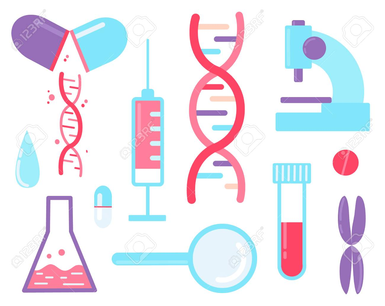 Genome sequencing - medical test. Set of elements dna, syringe, magnifier, microscope and pills. - 112595128