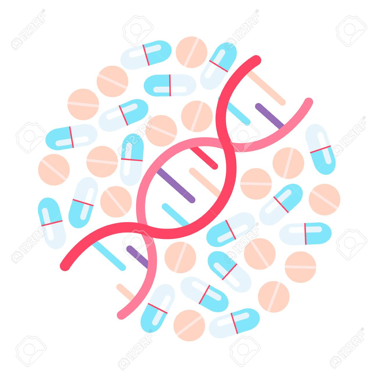 DNA illustration. Genome sequencing. Different pills in circle - 112595129