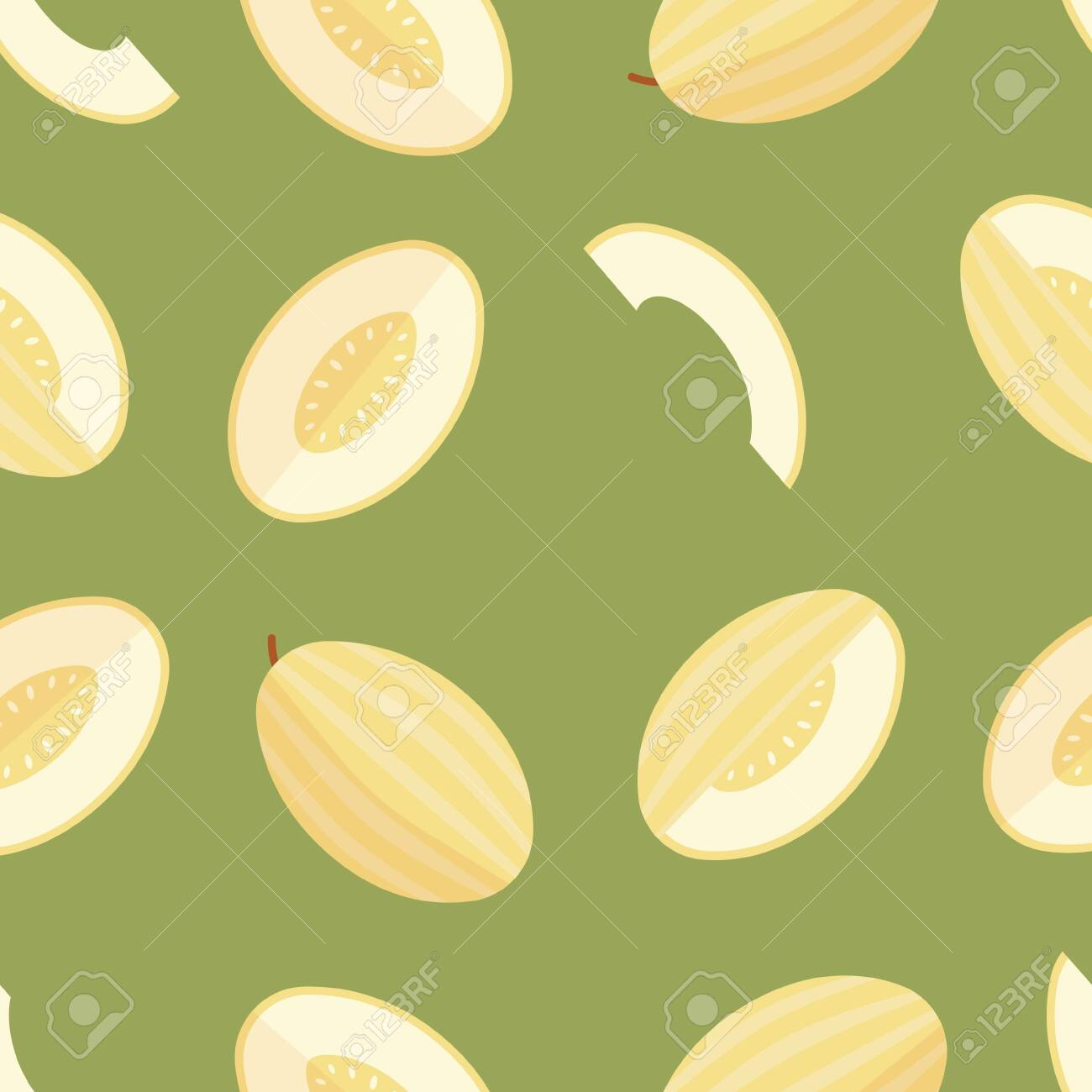 Green seamless pattern of melon, organic sweet dessert. - 132553822