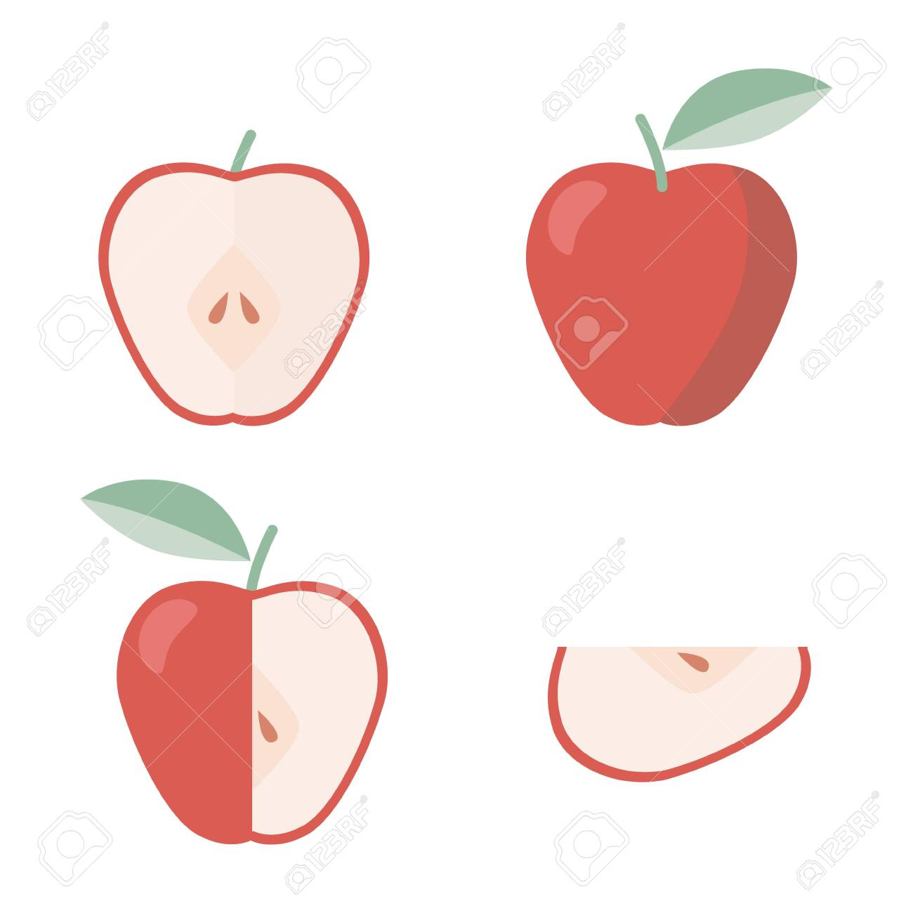 Icons set of apple in flat style, for print. - 131932760